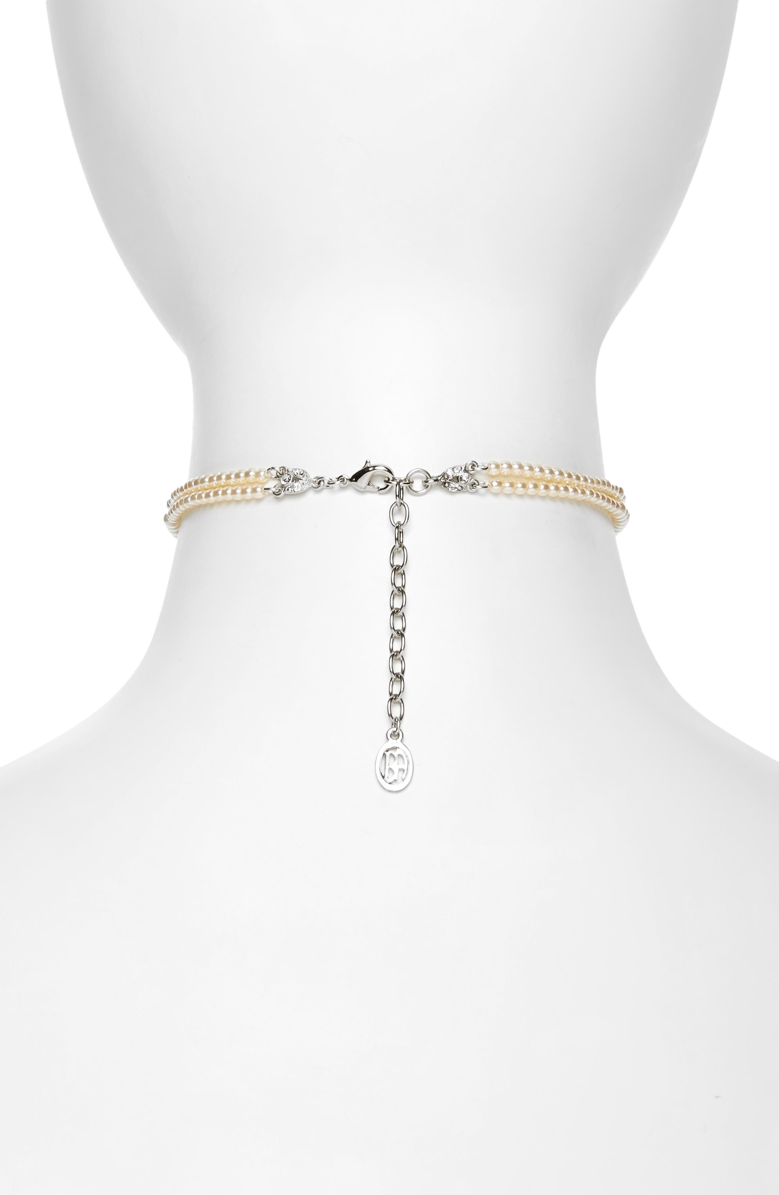 Imitation Pearl Choker Necklace,                             Alternate thumbnail 2, color,                             IVORY / SILVER