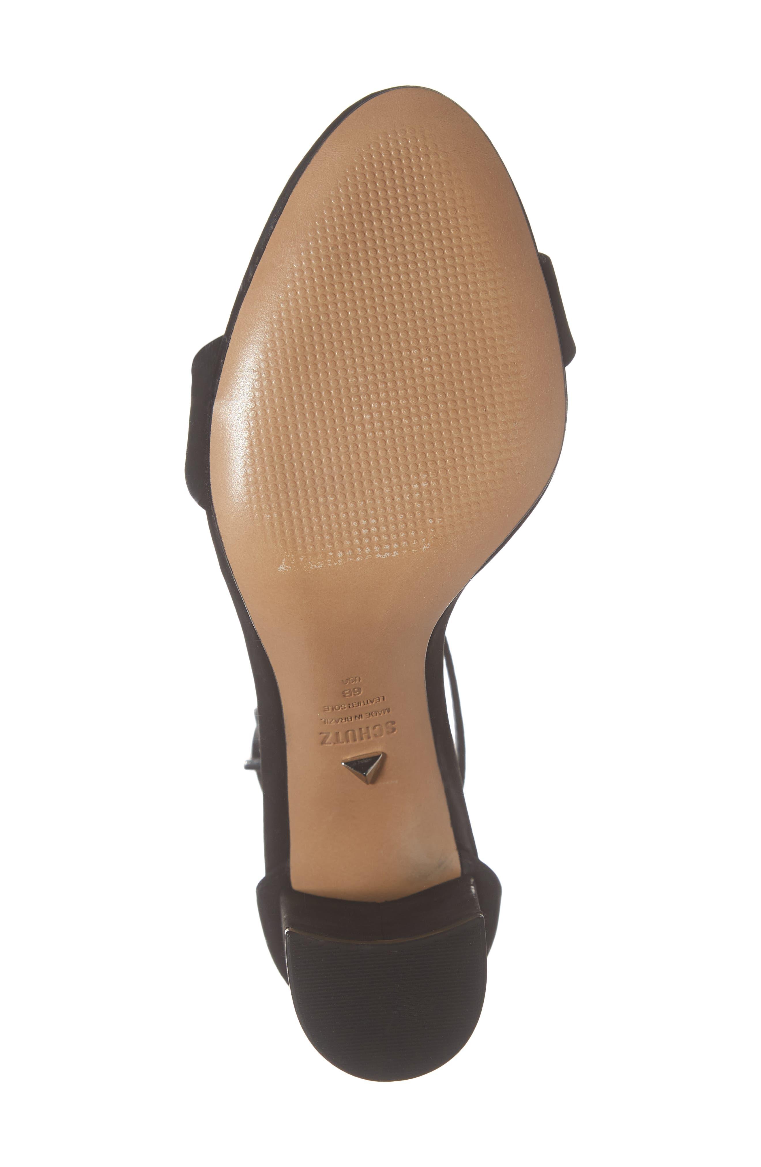 Anna Lee Ankle Strap Sandal,                             Alternate thumbnail 6, color,                             BLACK NUBUCK LEATHER