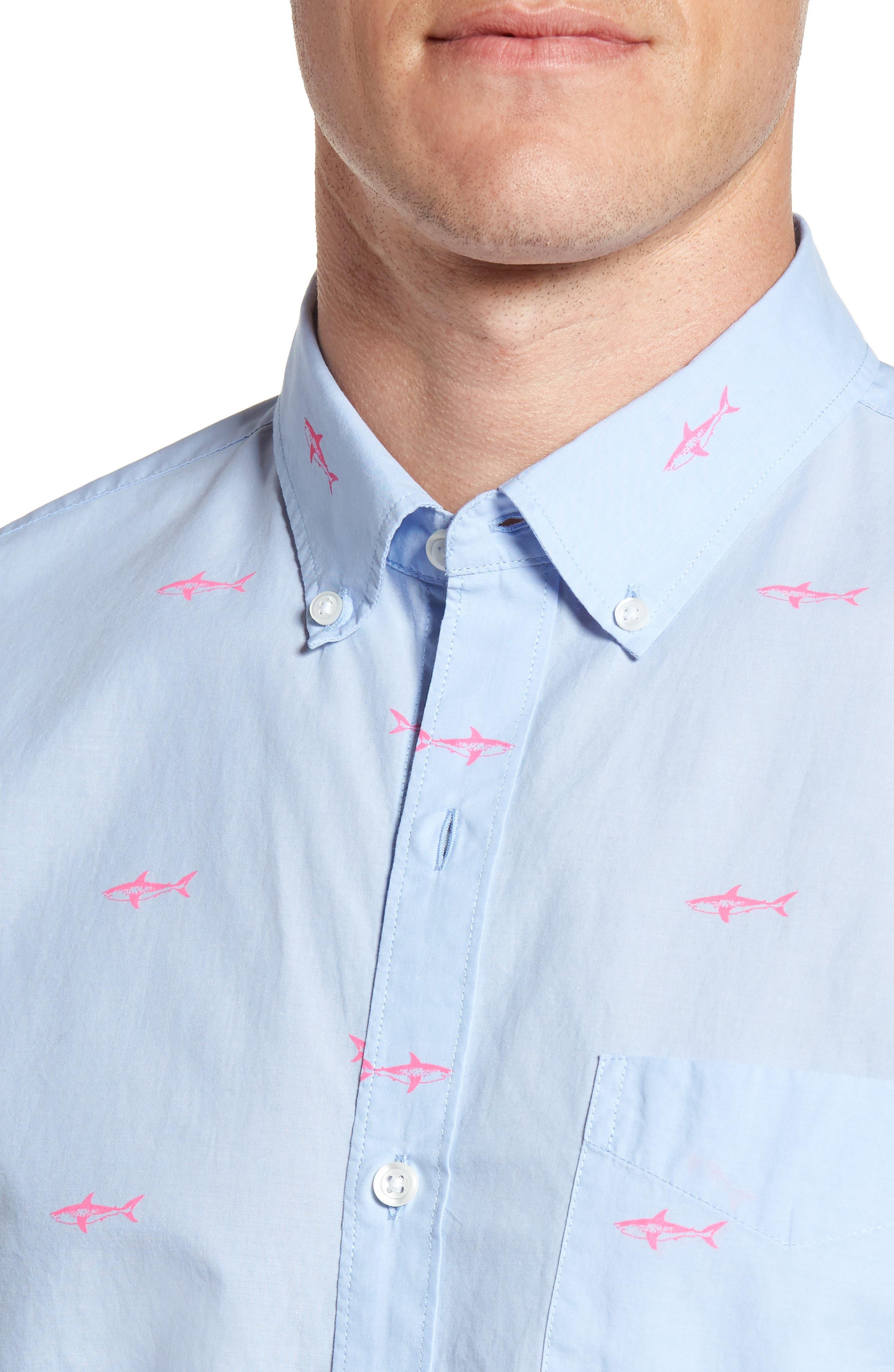 Slim Fit Summerweight Shark Print Sport Shirt,                             Alternate thumbnail 4, color,                             400