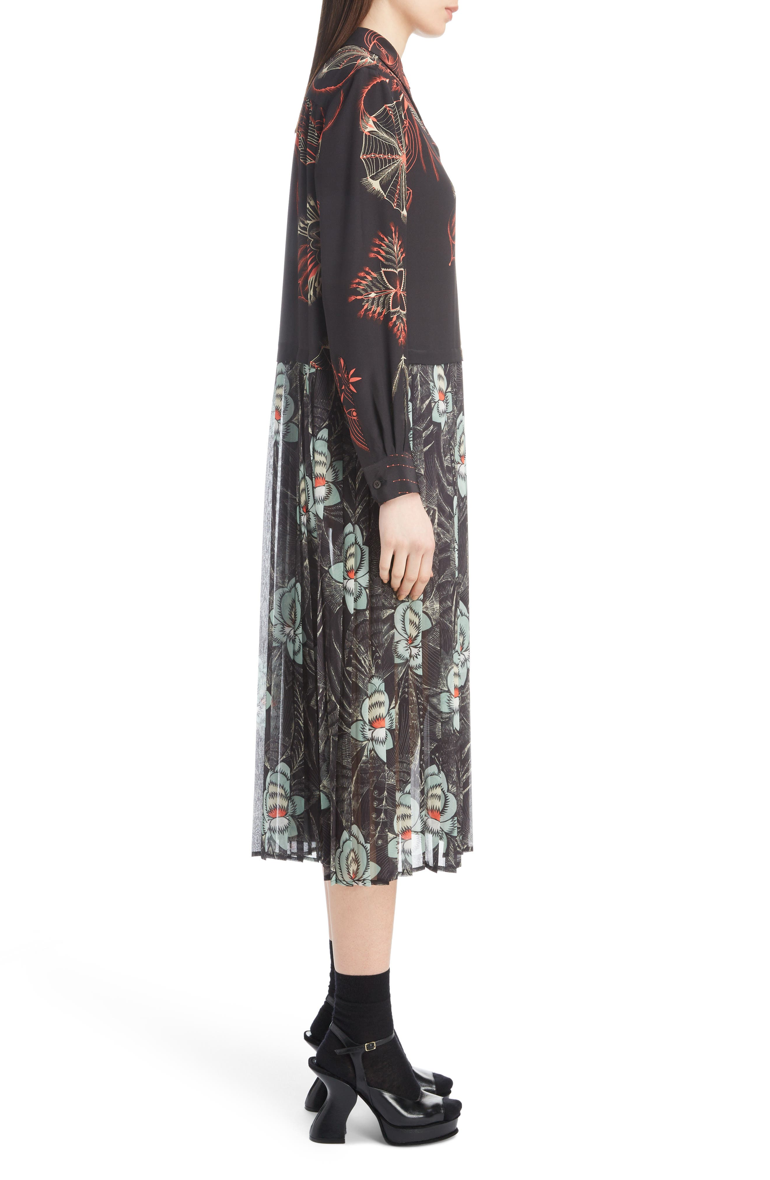 Mixed Print Silk Dress,                             Alternate thumbnail 3, color,                             BLACK