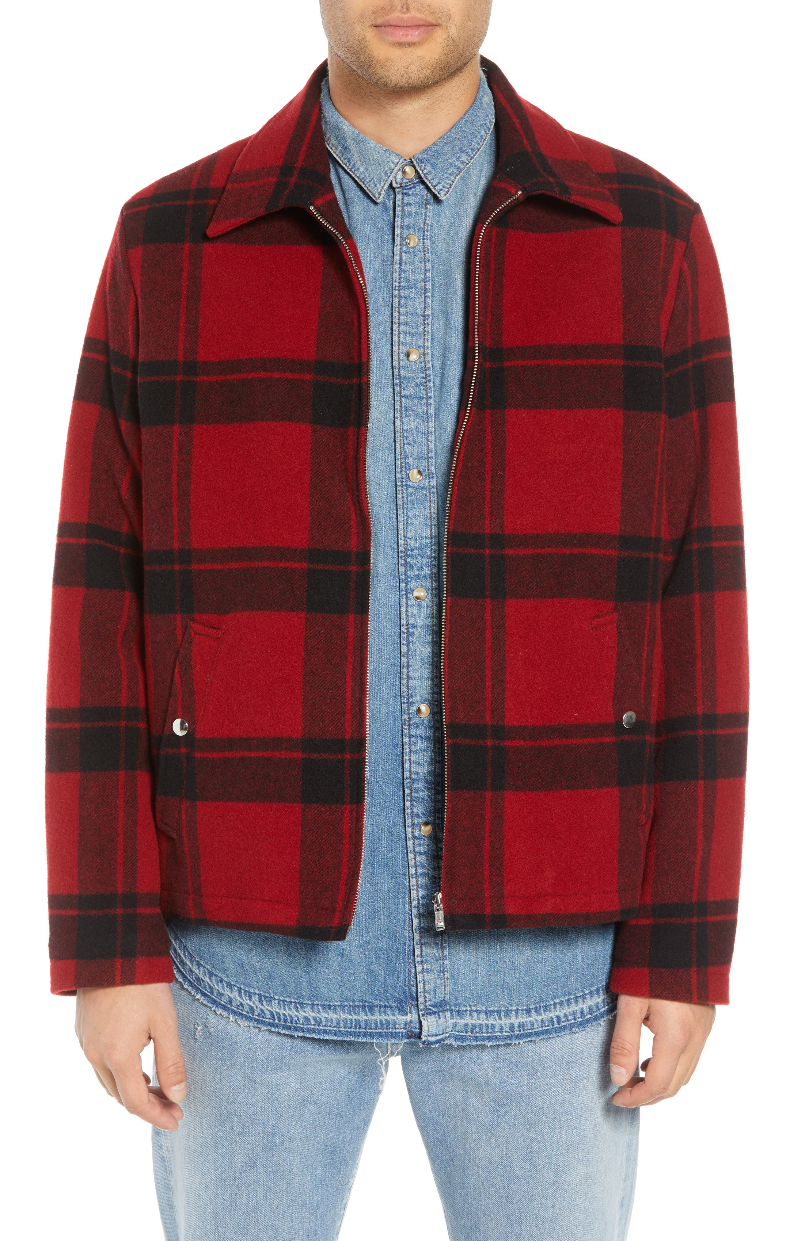 Classic Fit Plaid Wool Trapper Jacket,                         Main,                         color, RED/ BLACK