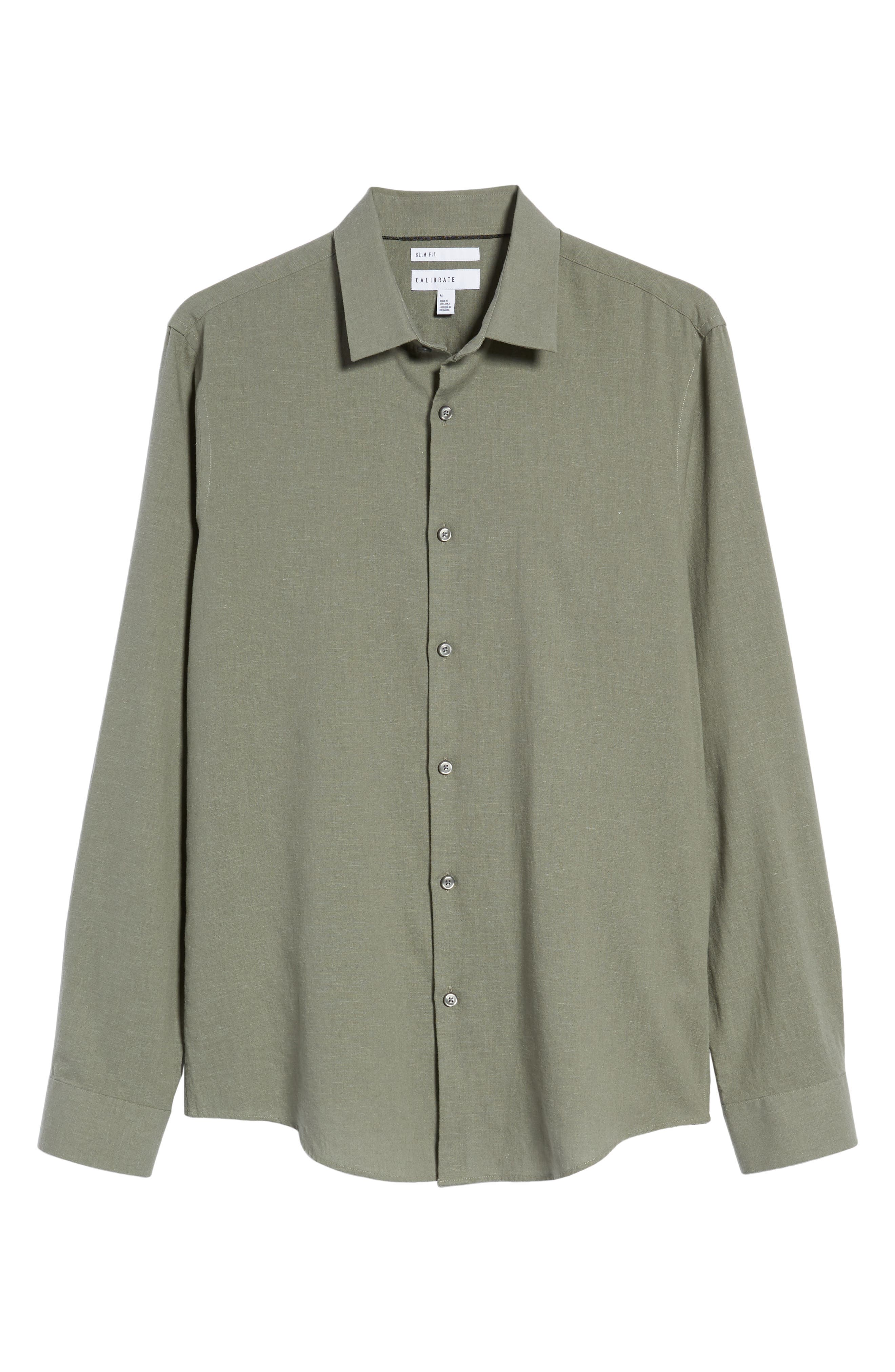 Linen Blend Sport Shirt,                             Alternate thumbnail 16, color,