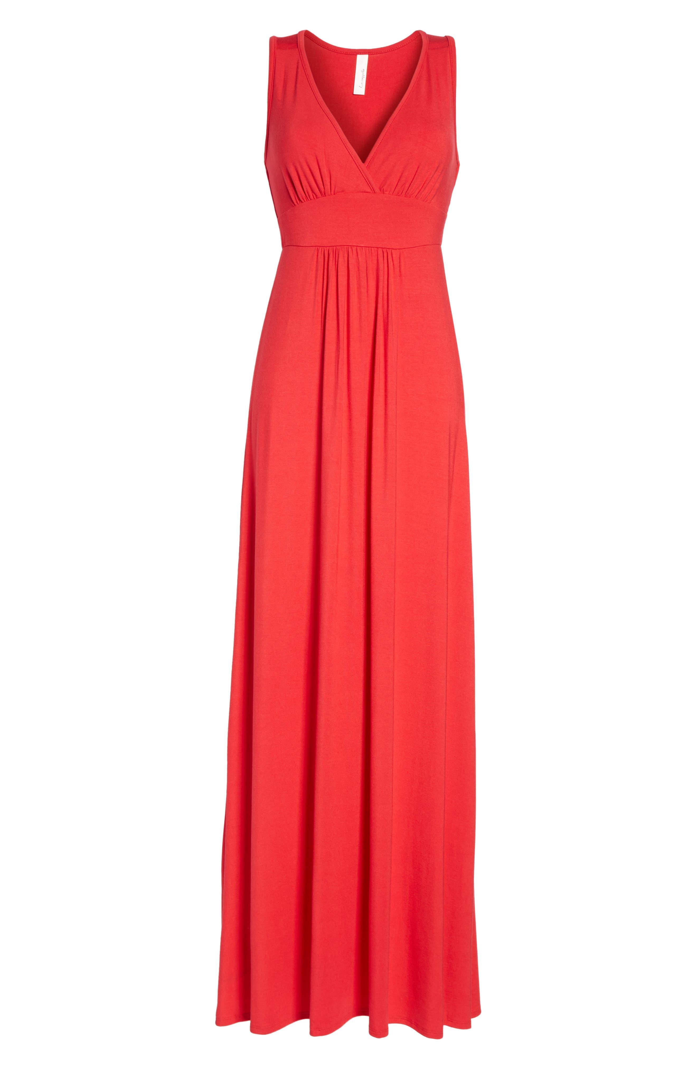Loveappella V-Neck Jersey Maxi Dress, Red