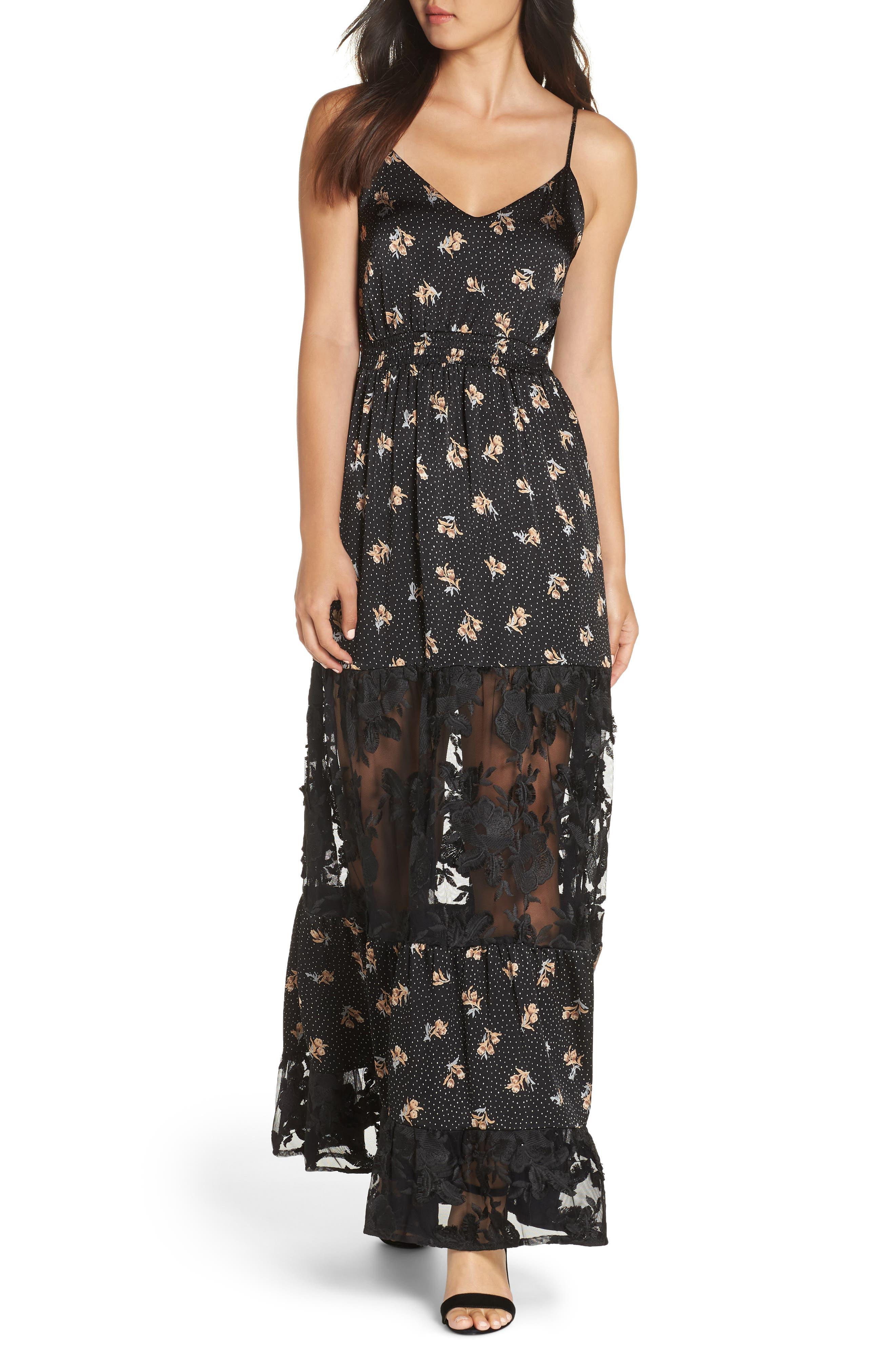 Lace Panel Maxi Dress,                         Main,                         color, BLACK FLORAL