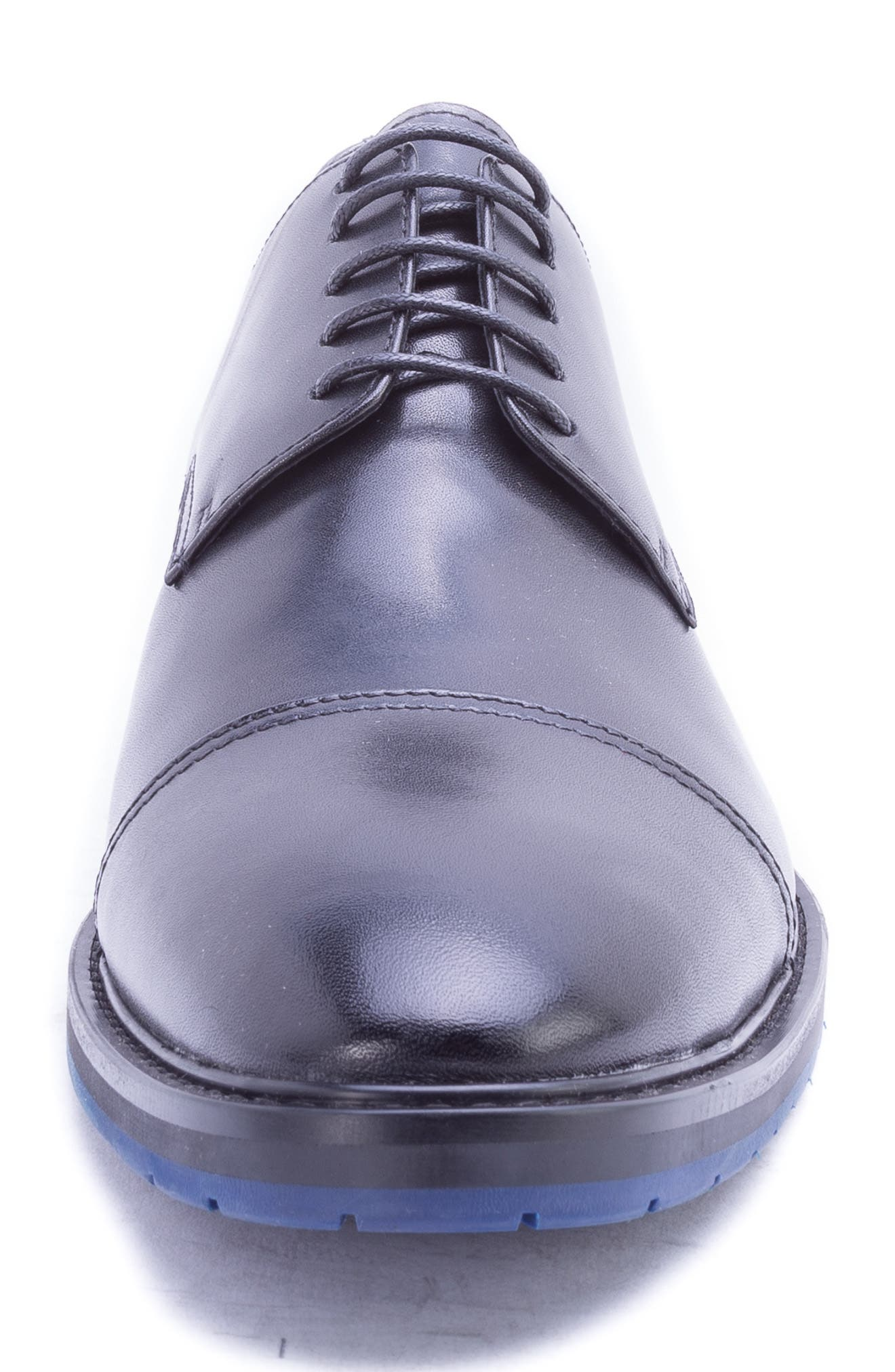 Welti Cap Toe Derby,                             Alternate thumbnail 4, color,                             BLACK LEATHER