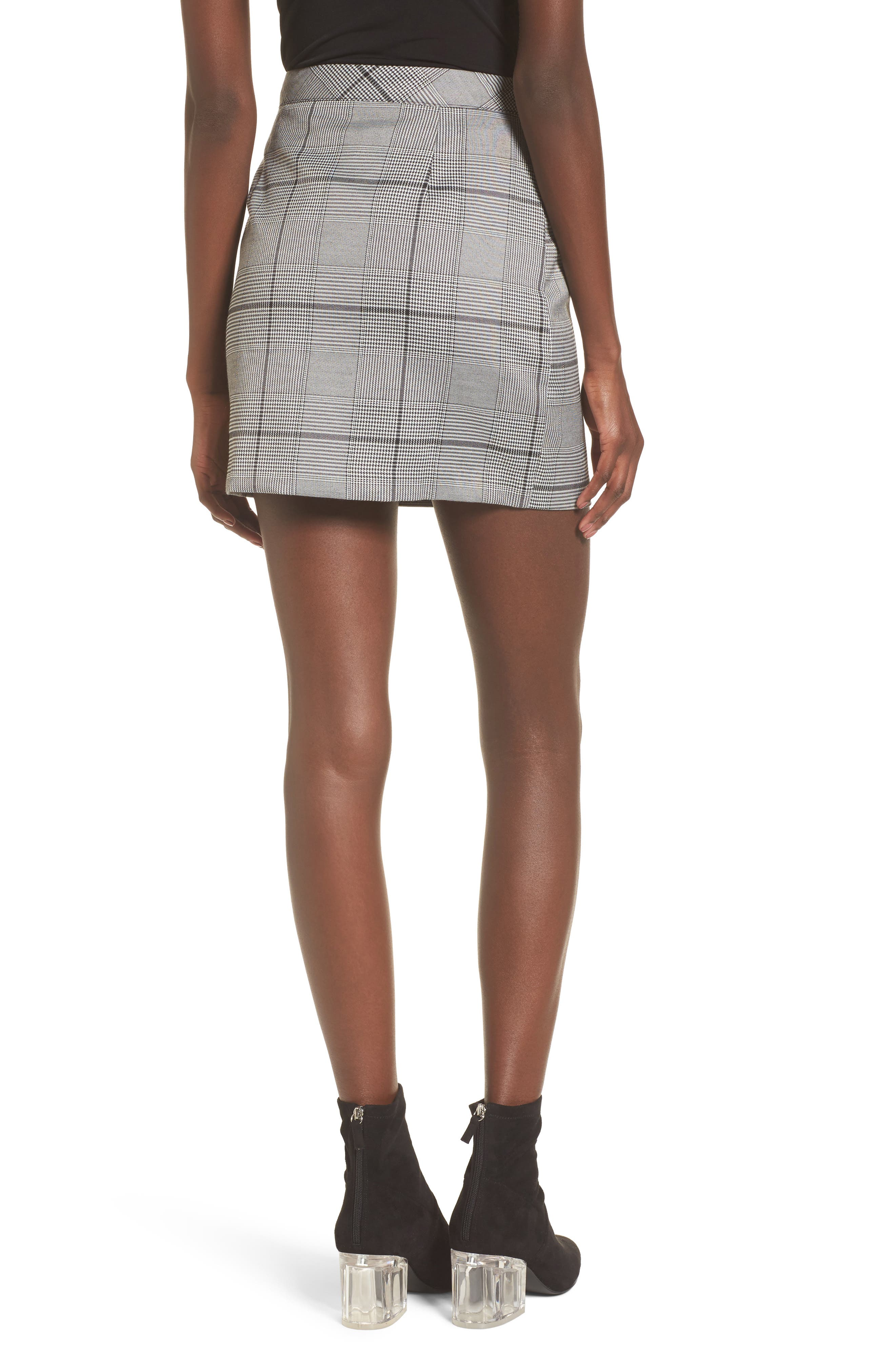 Button Plaid Miniskirt,                             Alternate thumbnail 2, color,                             001