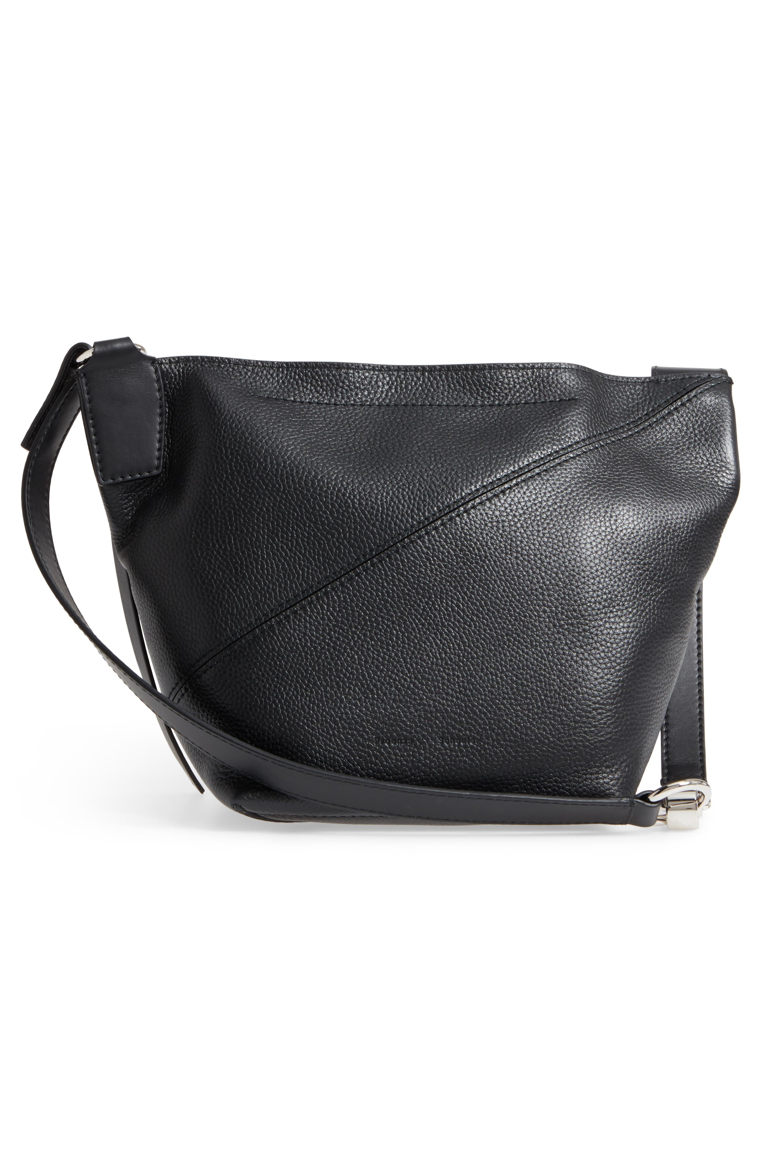 Small Leather Hobo Bag,                             Alternate thumbnail 3, color,                             001