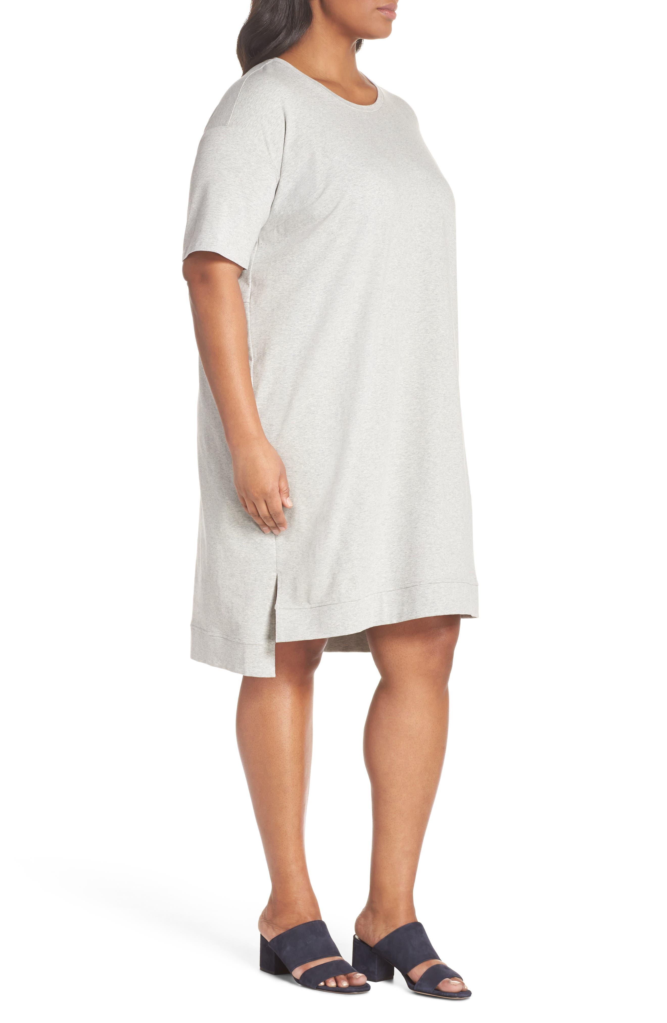Organic Stretch Cotton Shift Dress,                             Alternate thumbnail 3, color,                             020