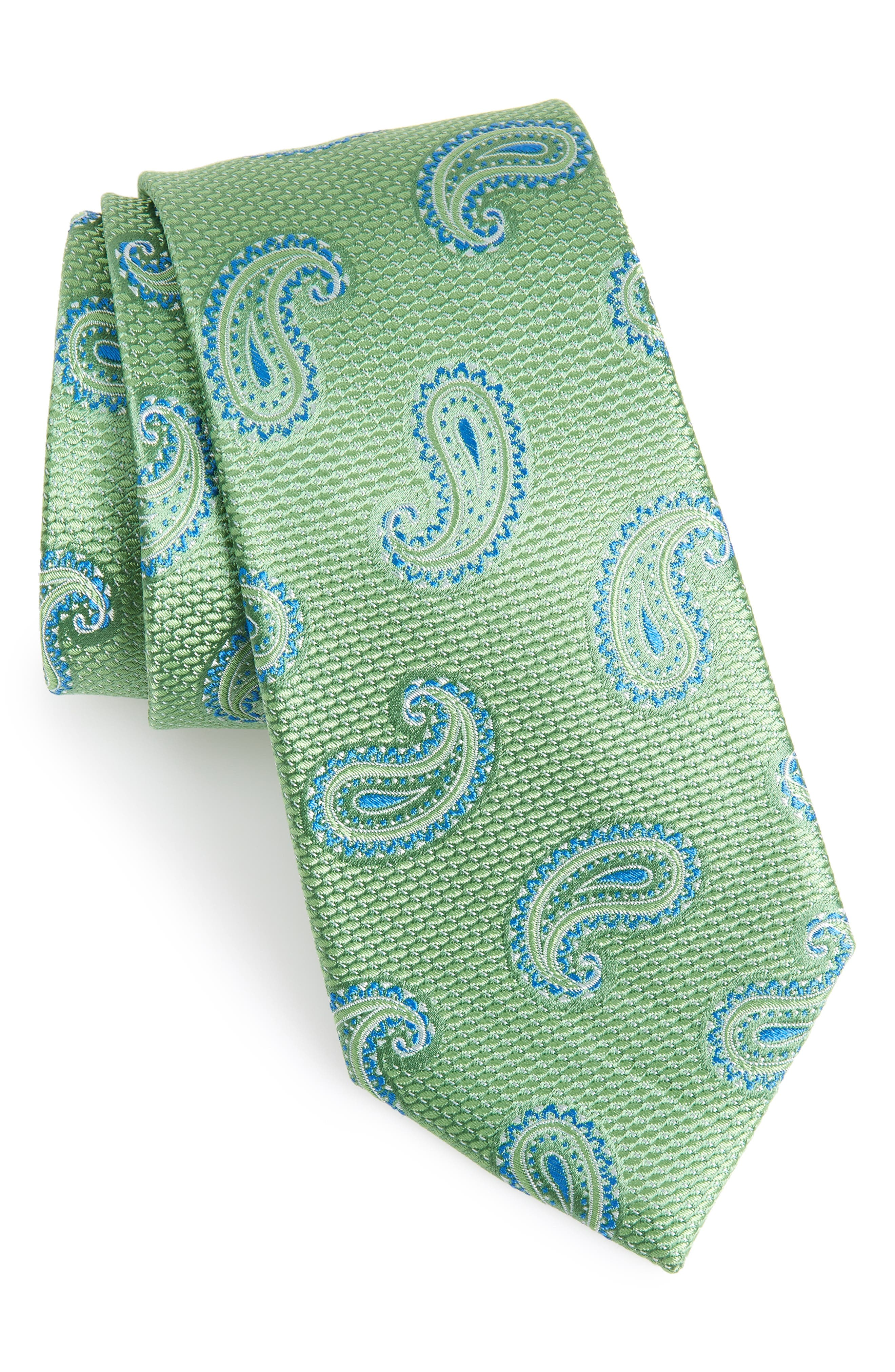 Jerome Paisley Silk Tie,                             Main thumbnail 1, color,