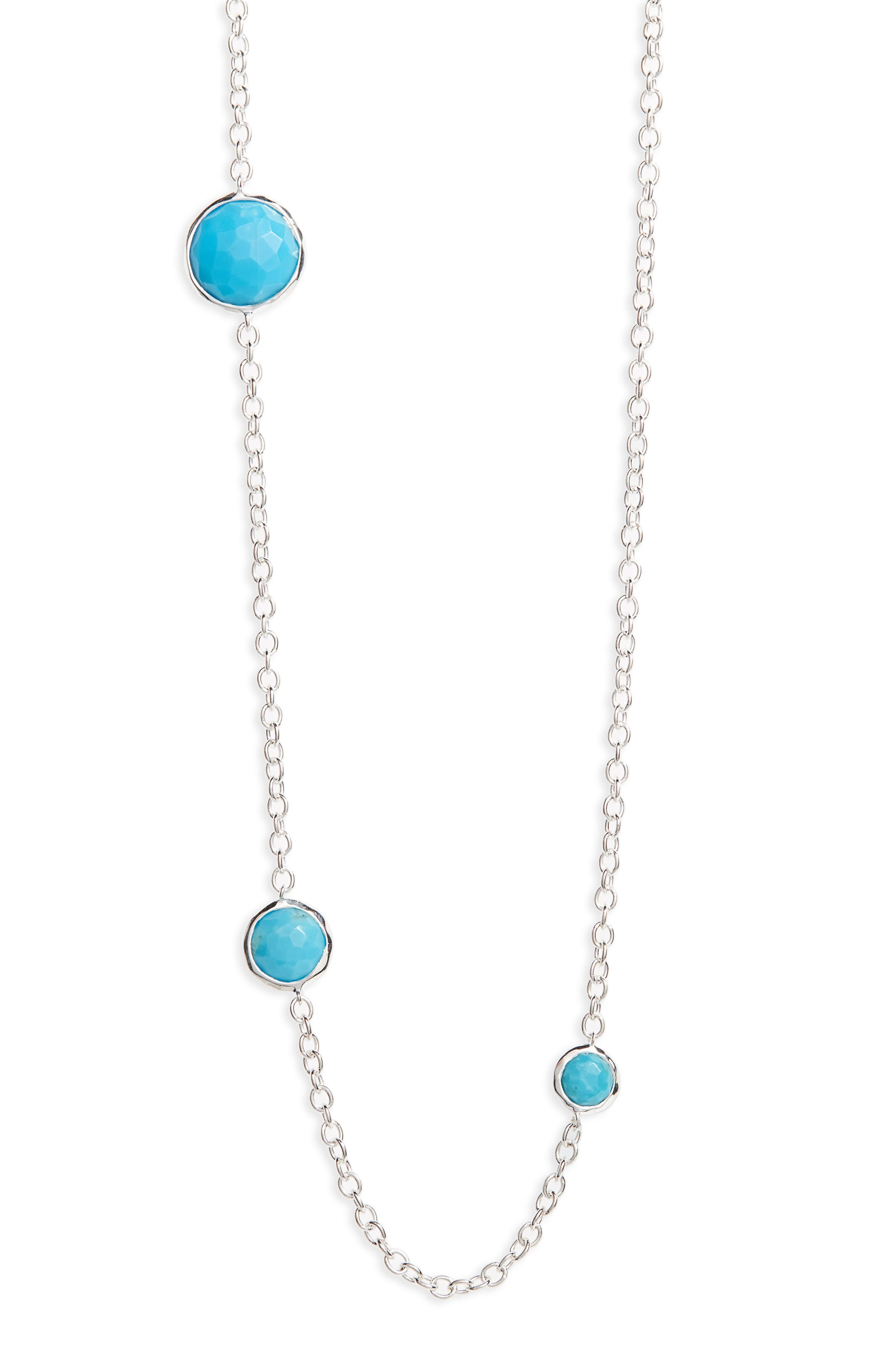 'Rock Candy - Lollipop' Long Necklace,                             Alternate thumbnail 4, color,                             SILVER - TURQUOISE