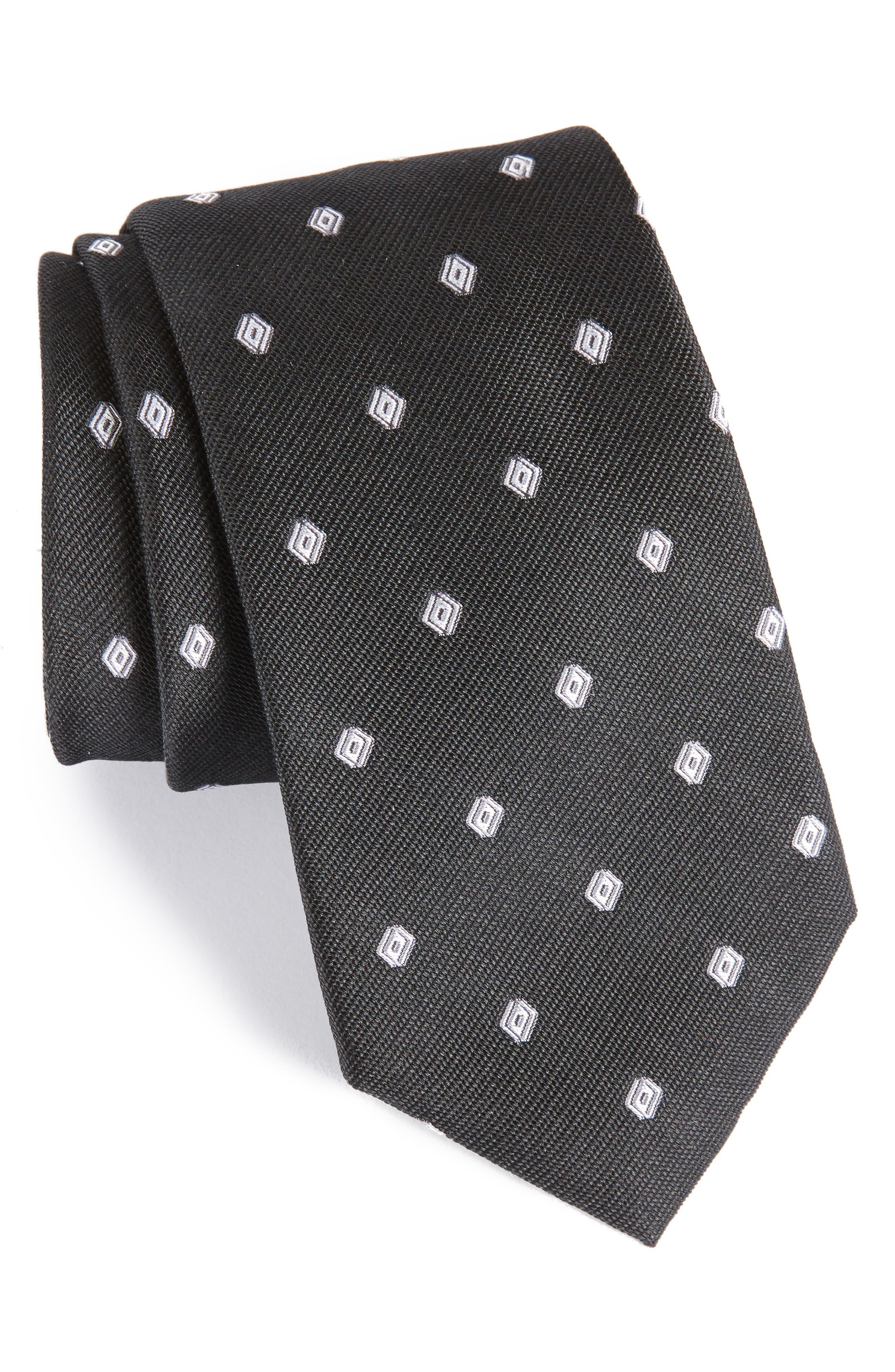 Kaleri Neat Diamond Grid Silk Tie,                         Main,                         color, 001