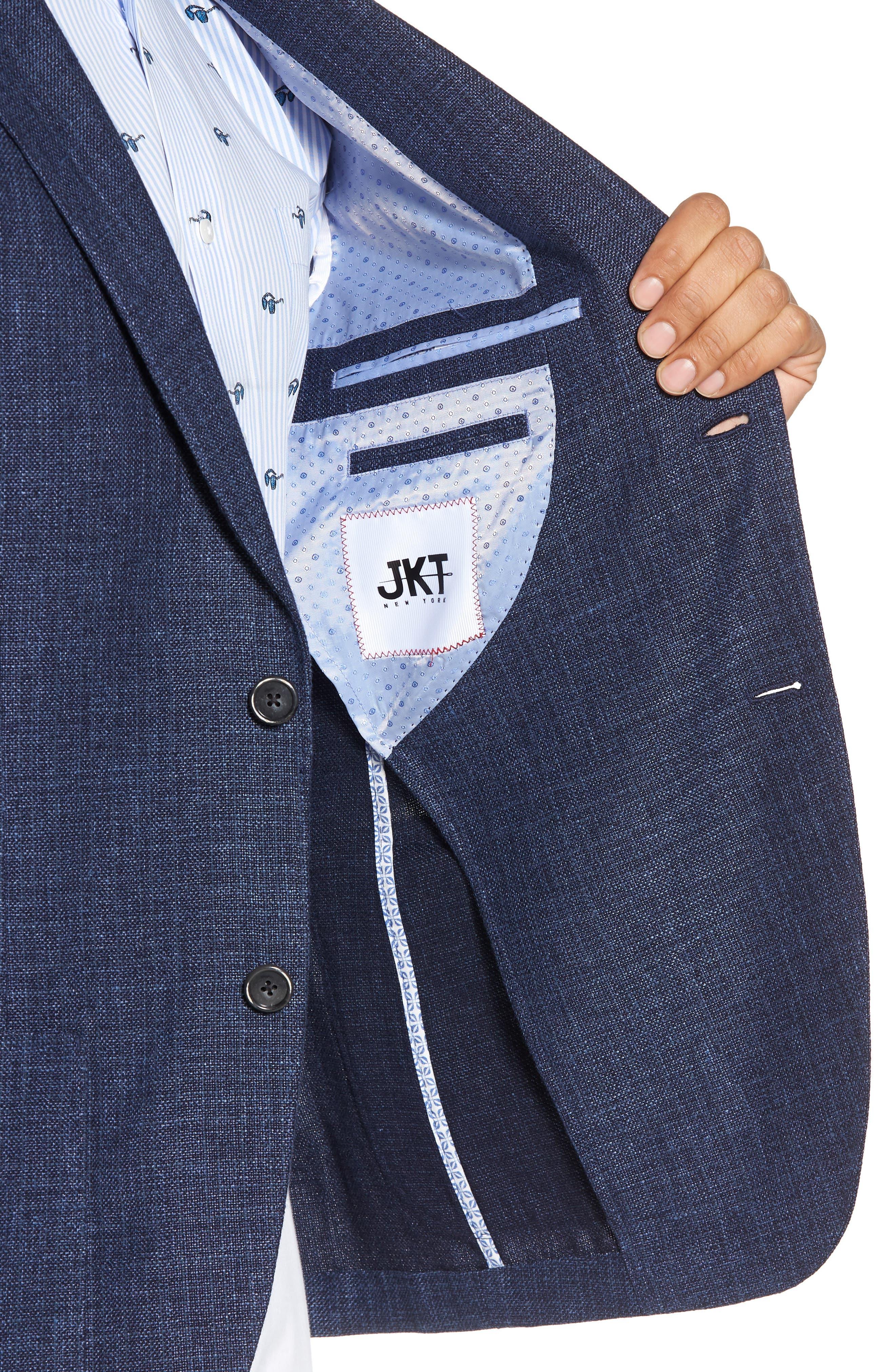 Trent Trim Fit Wool & Linen Blazer,                             Alternate thumbnail 4, color,                             410