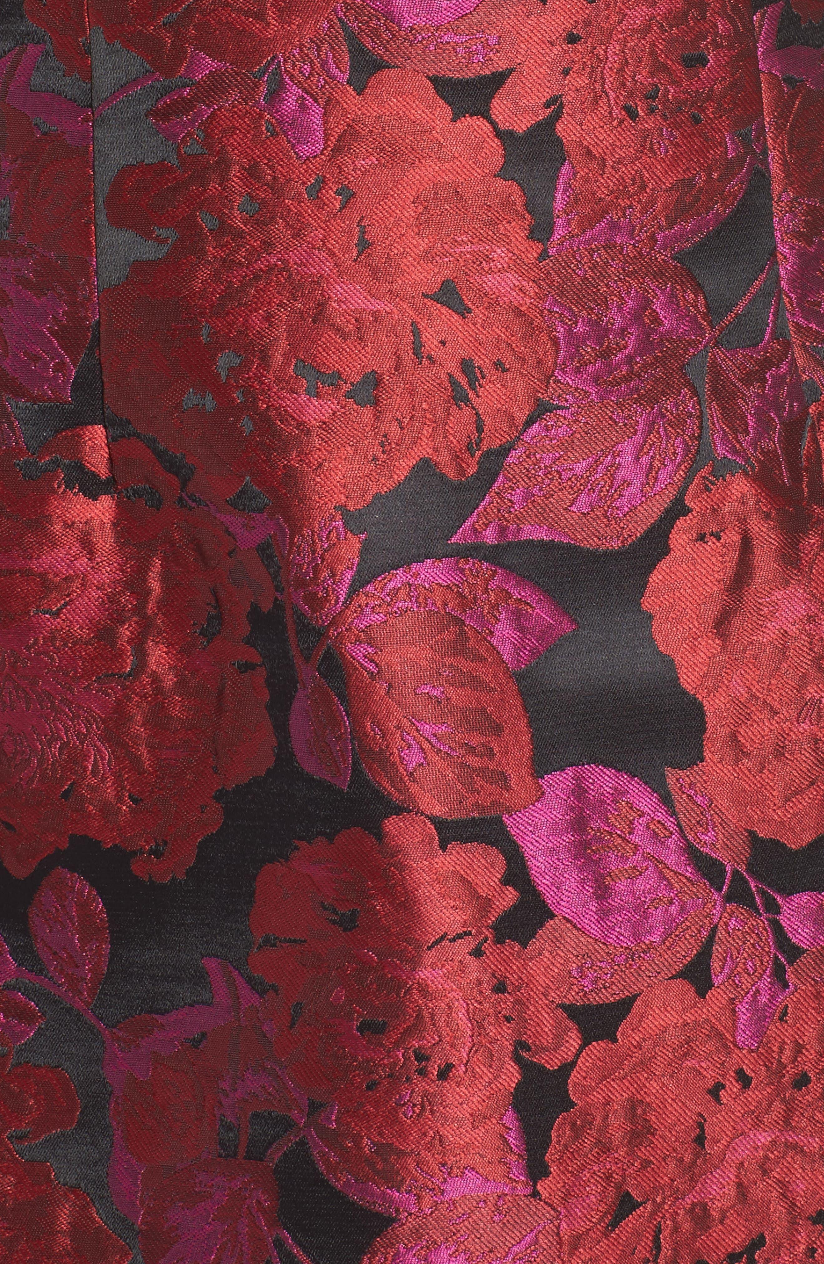 Jacquard Fit & Flare Dress,                             Alternate thumbnail 5, color,                             635