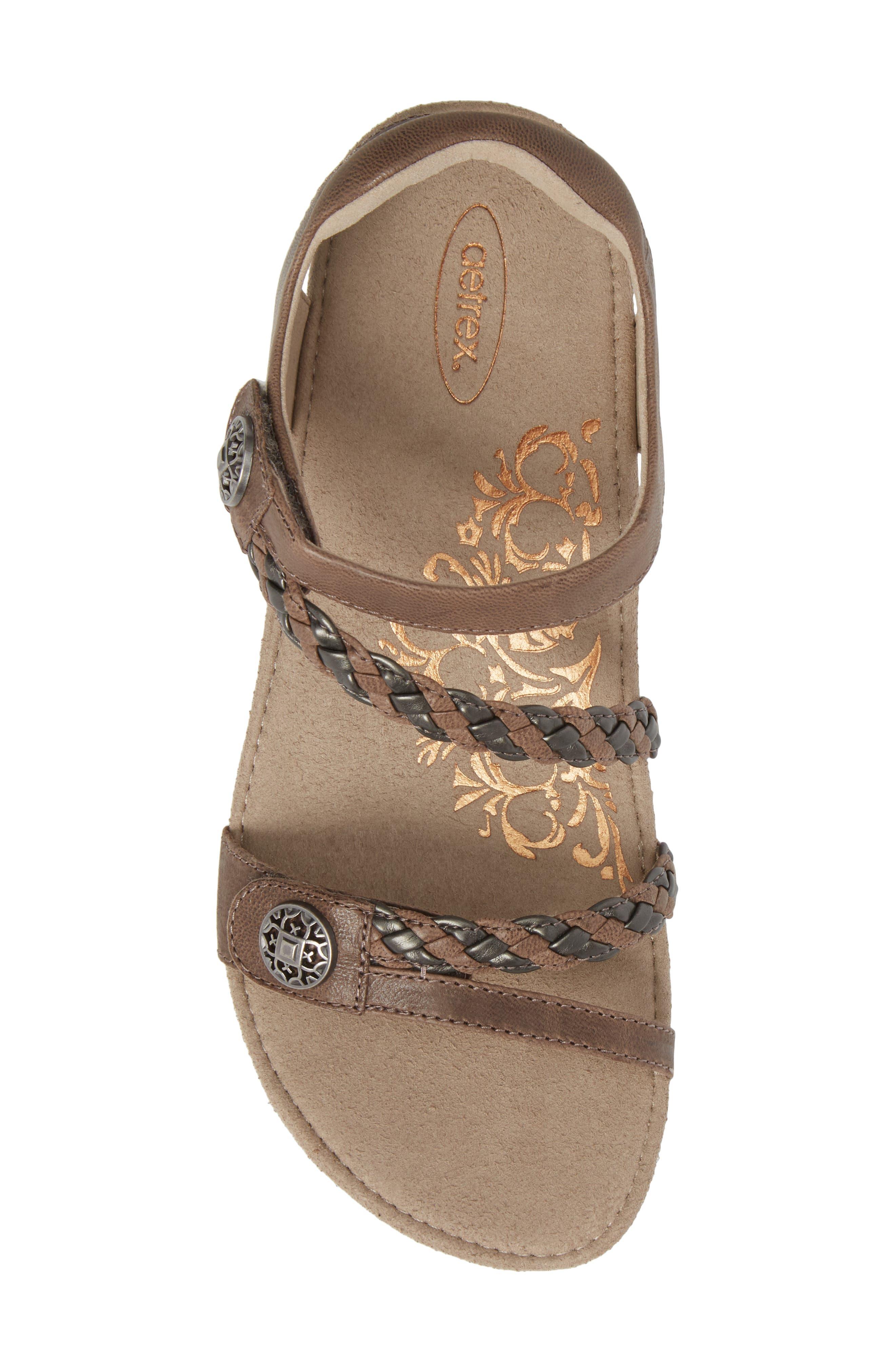 'Jillian' Braided Leather Strap Sandal,                             Alternate thumbnail 5, color,                             GREY LEATHER