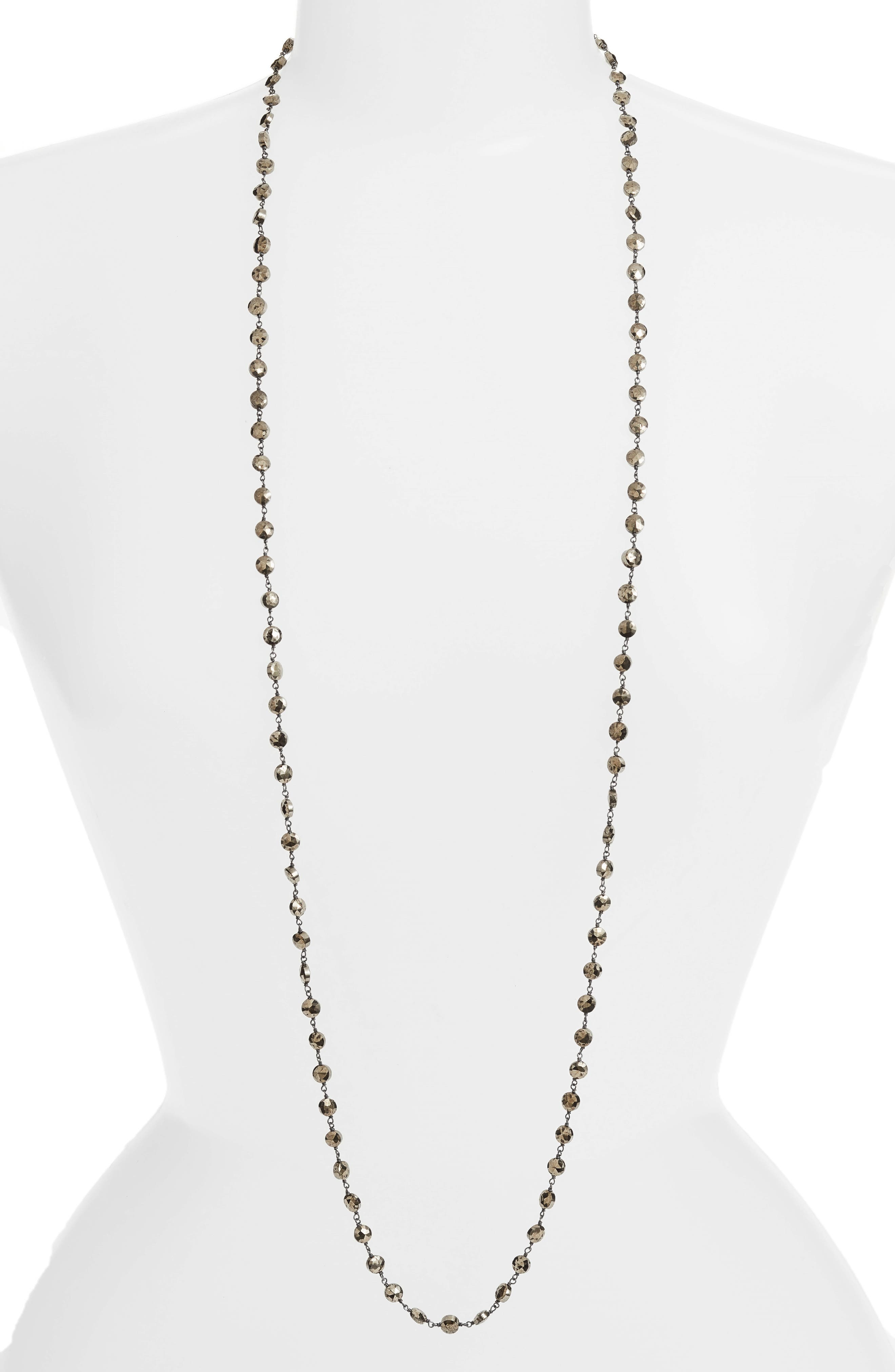 Diana Coin Necklace,                             Main thumbnail 1, color,                             PYRITE/ SILVER