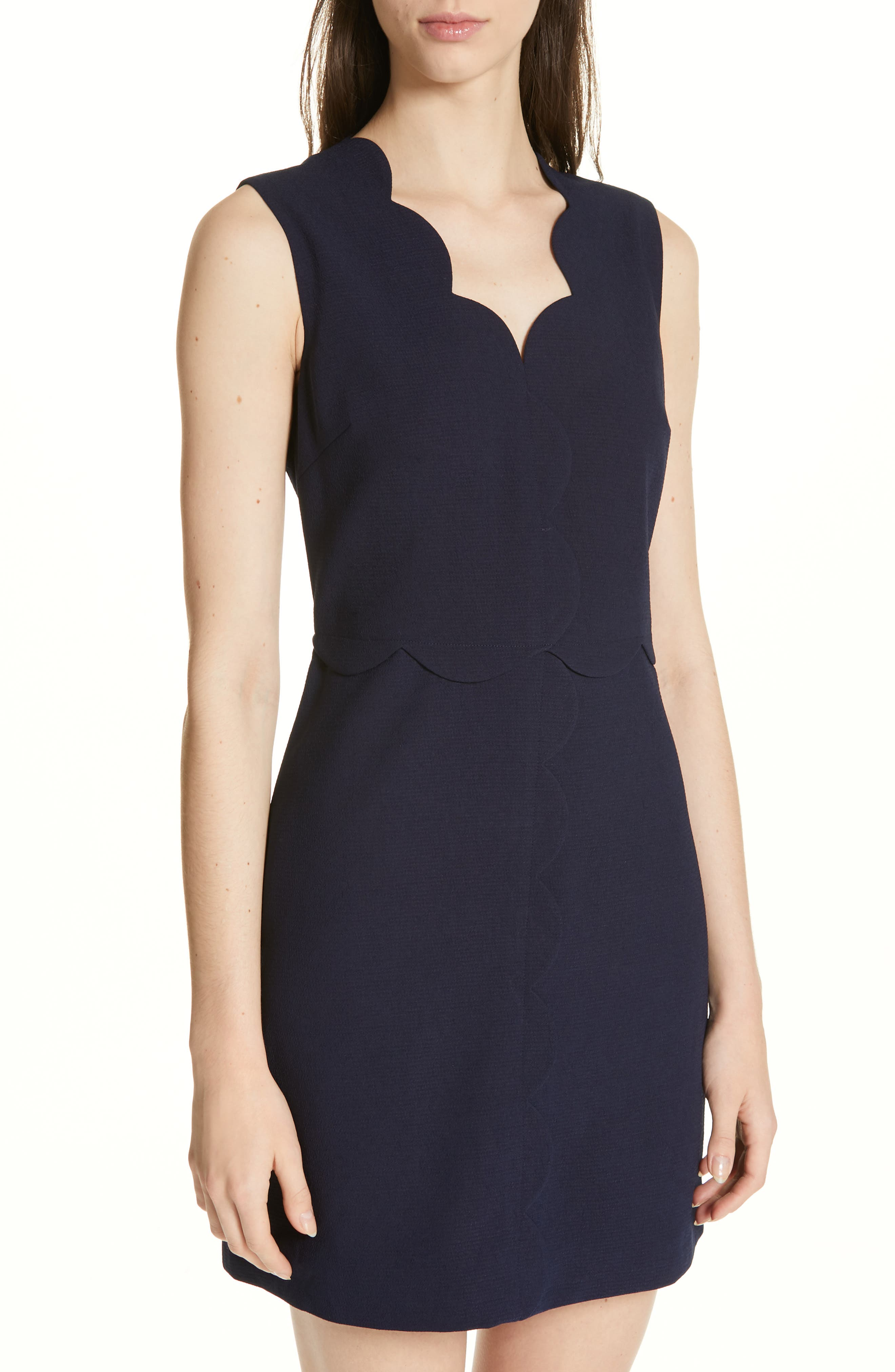 Rubeyed Scallop Edge A-Line Dress,                             Alternate thumbnail 4, color,                             DARK BLUE
