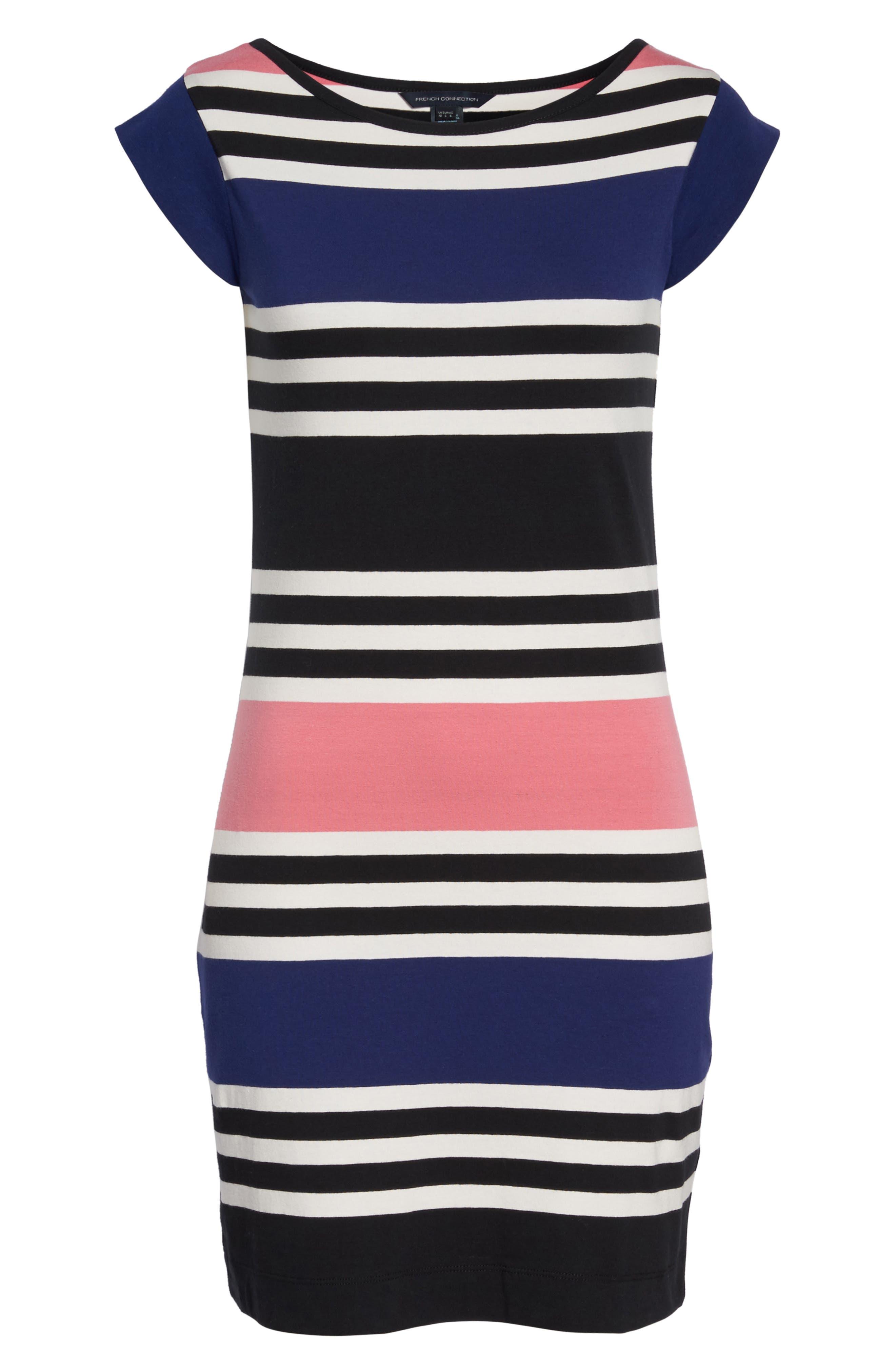Multi Jag Stripe T-Shirt Dress,                             Alternate thumbnail 6, color,                             471