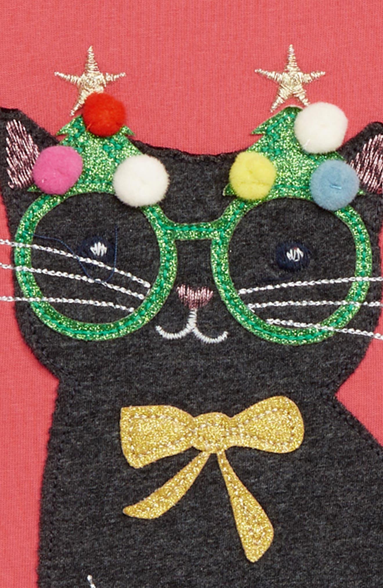 Mini Boden Festive Animals Tee,                             Alternate thumbnail 2, color,                             PNK ROSETTE PINK CAT
