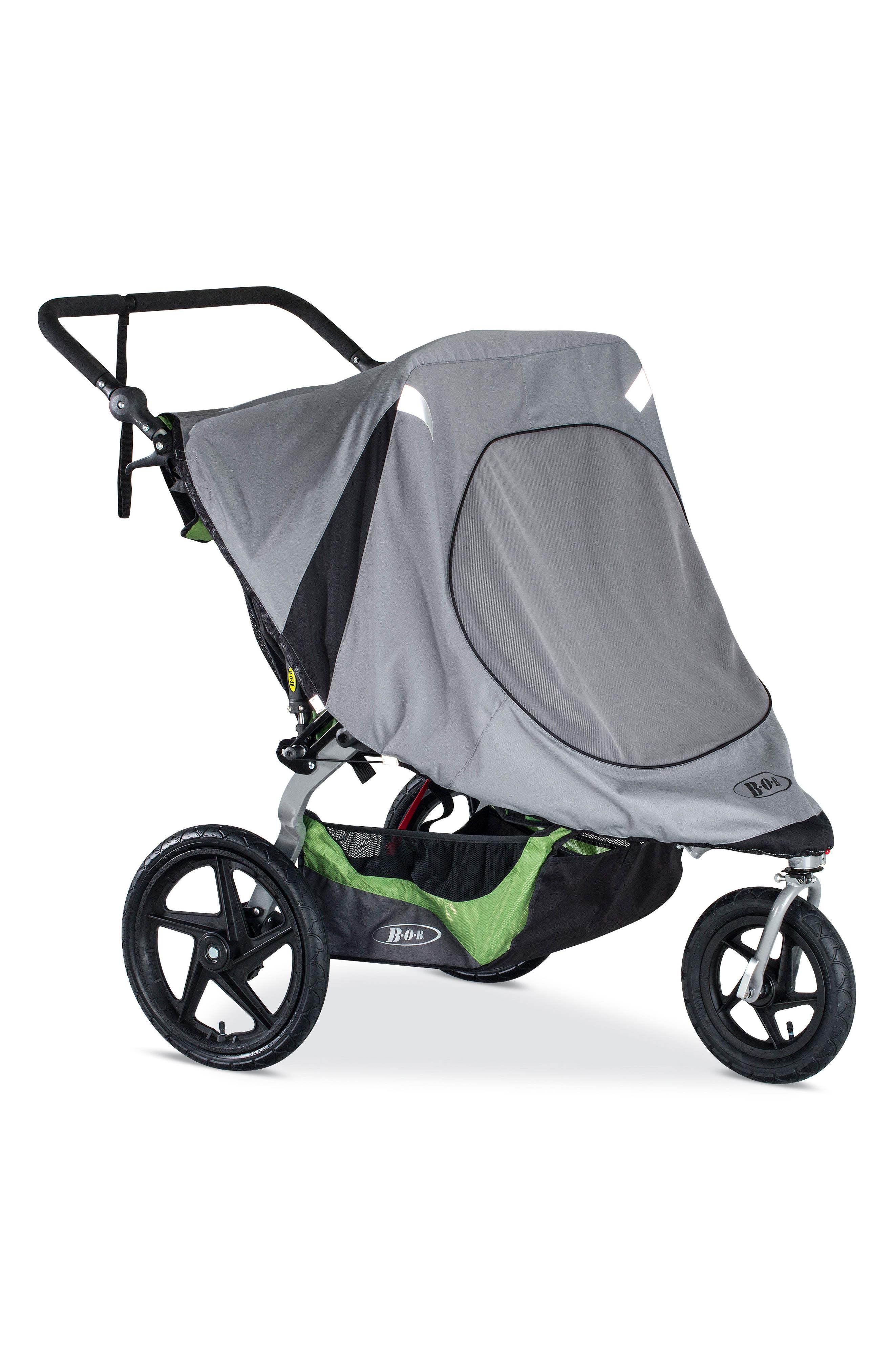 Revolution Duallie Double Jogging Stroller Sun Shield,                         Main,                         color, BLACK