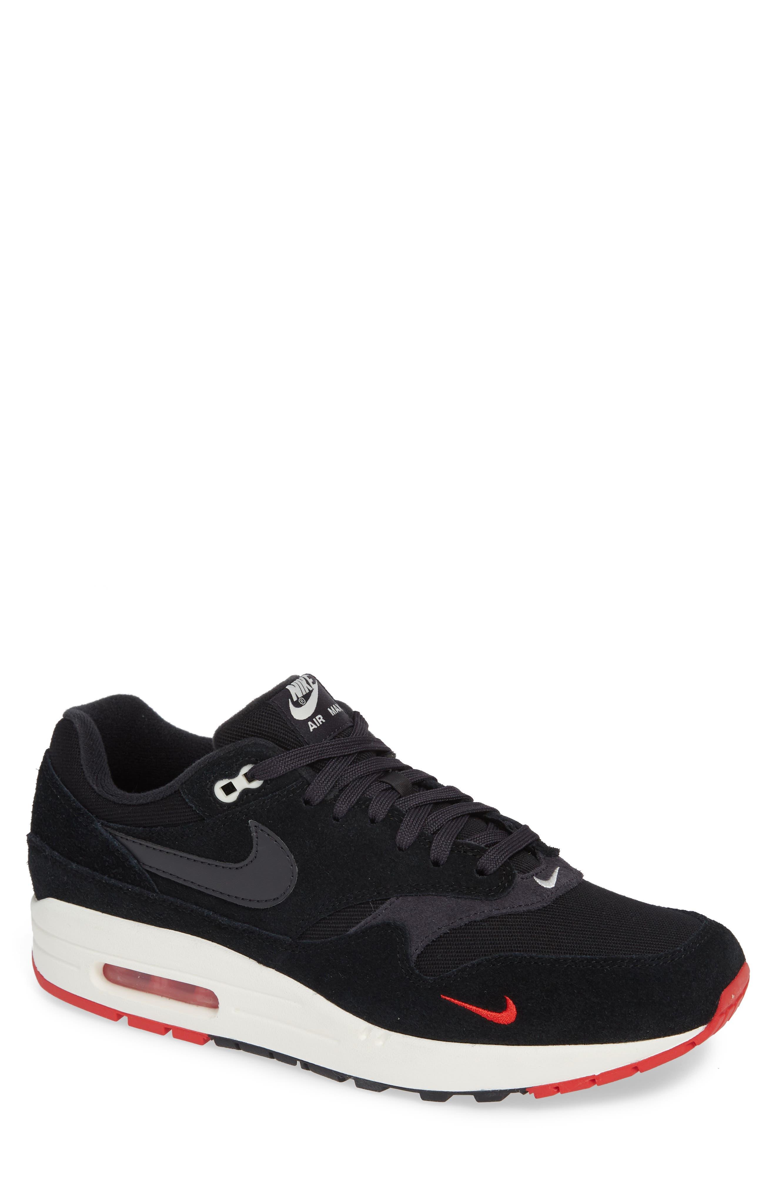Air Max 1 Premium Sneaker,                             Main thumbnail 1, color,                             BLACK/ GREY/ UNIVERSITY RED