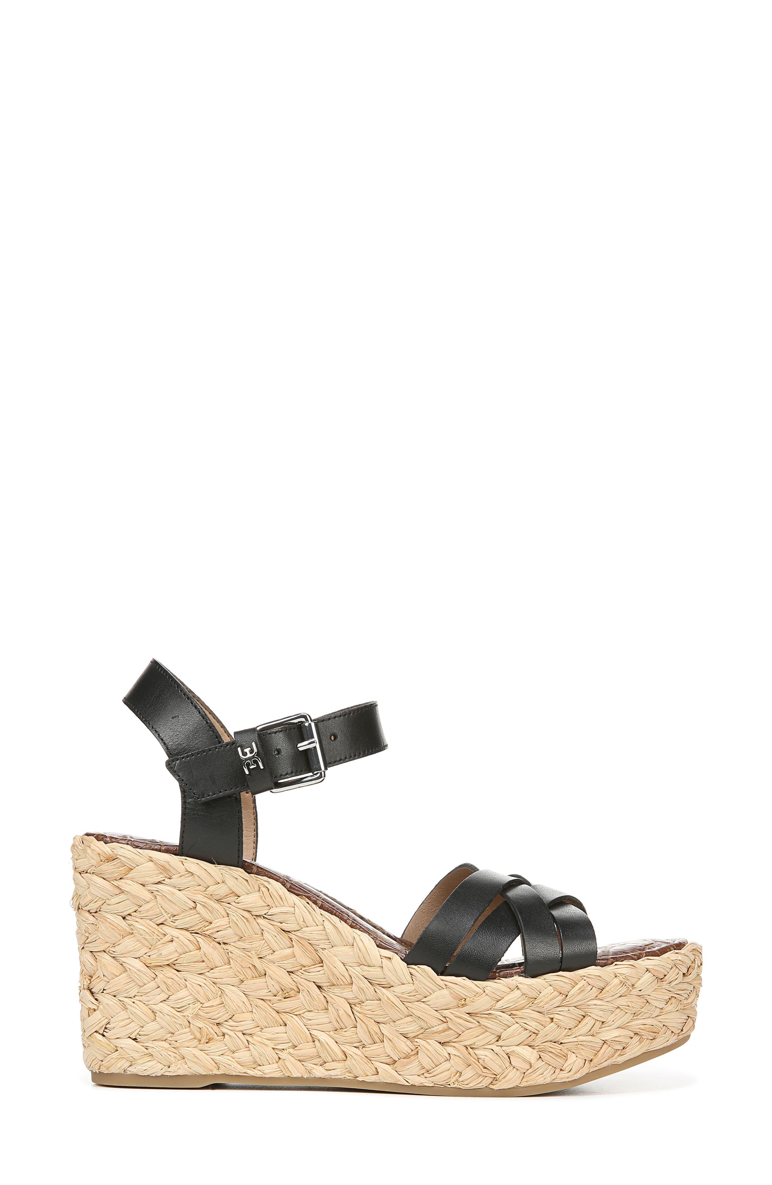 SAM EDELMAN,                             Darline Platform Wedge Sandal,                             Alternate thumbnail 2, color,                             BLACK LEATHER