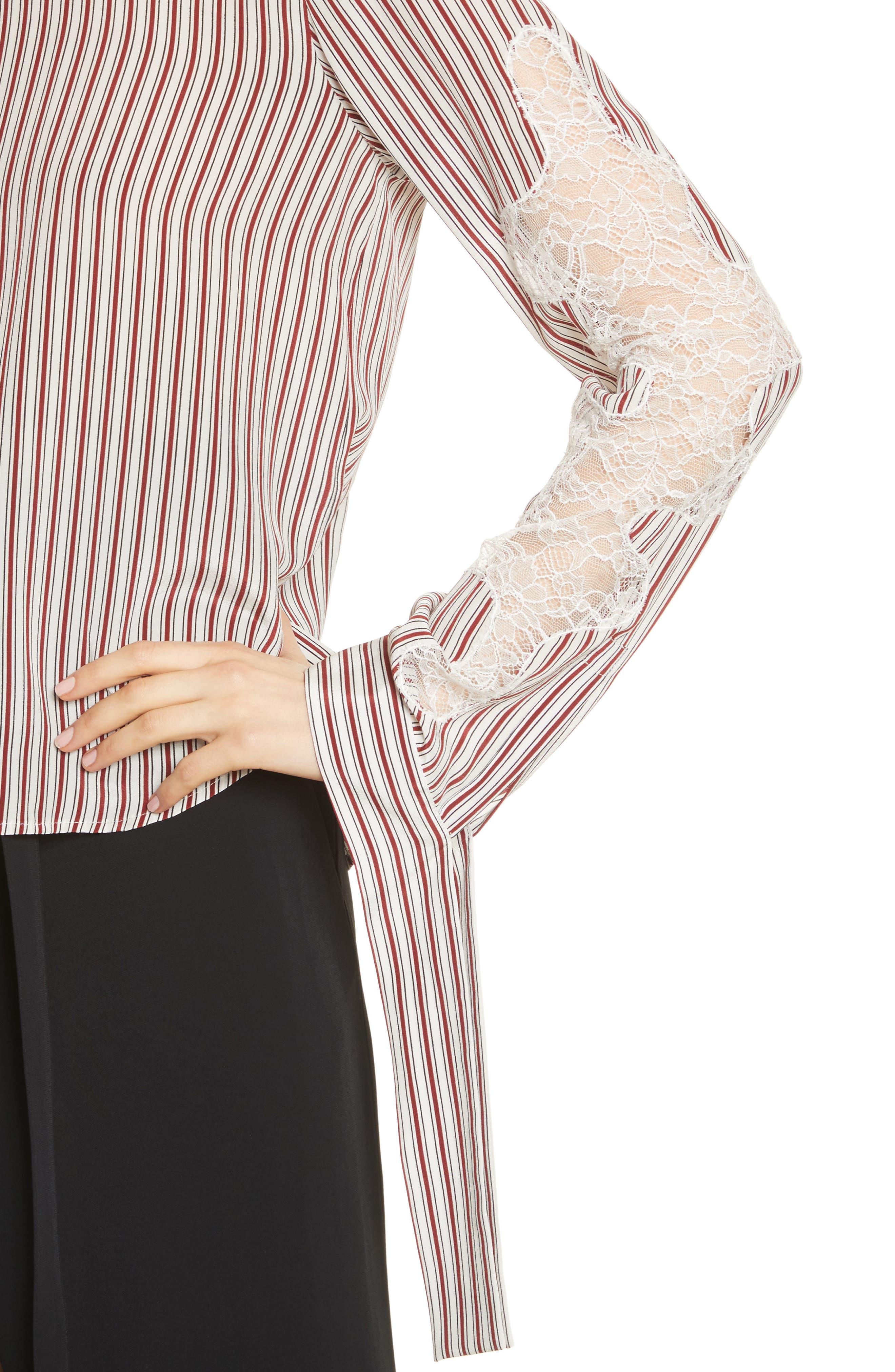 Lace Inset Stripe Blouse,                             Alternate thumbnail 4, color,