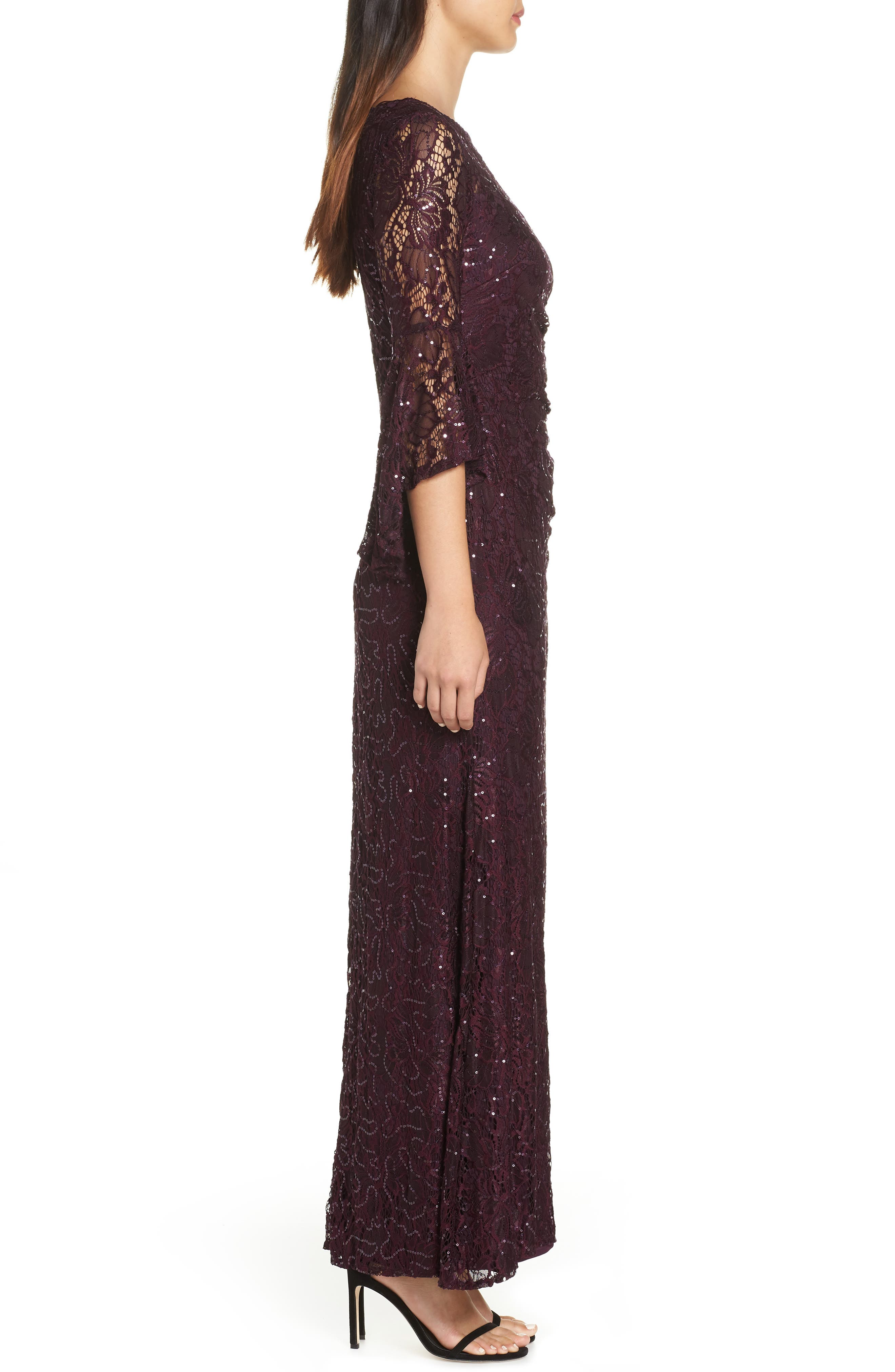 Sequin Embellished Gown,                             Alternate thumbnail 3, color,                             MULBERRY