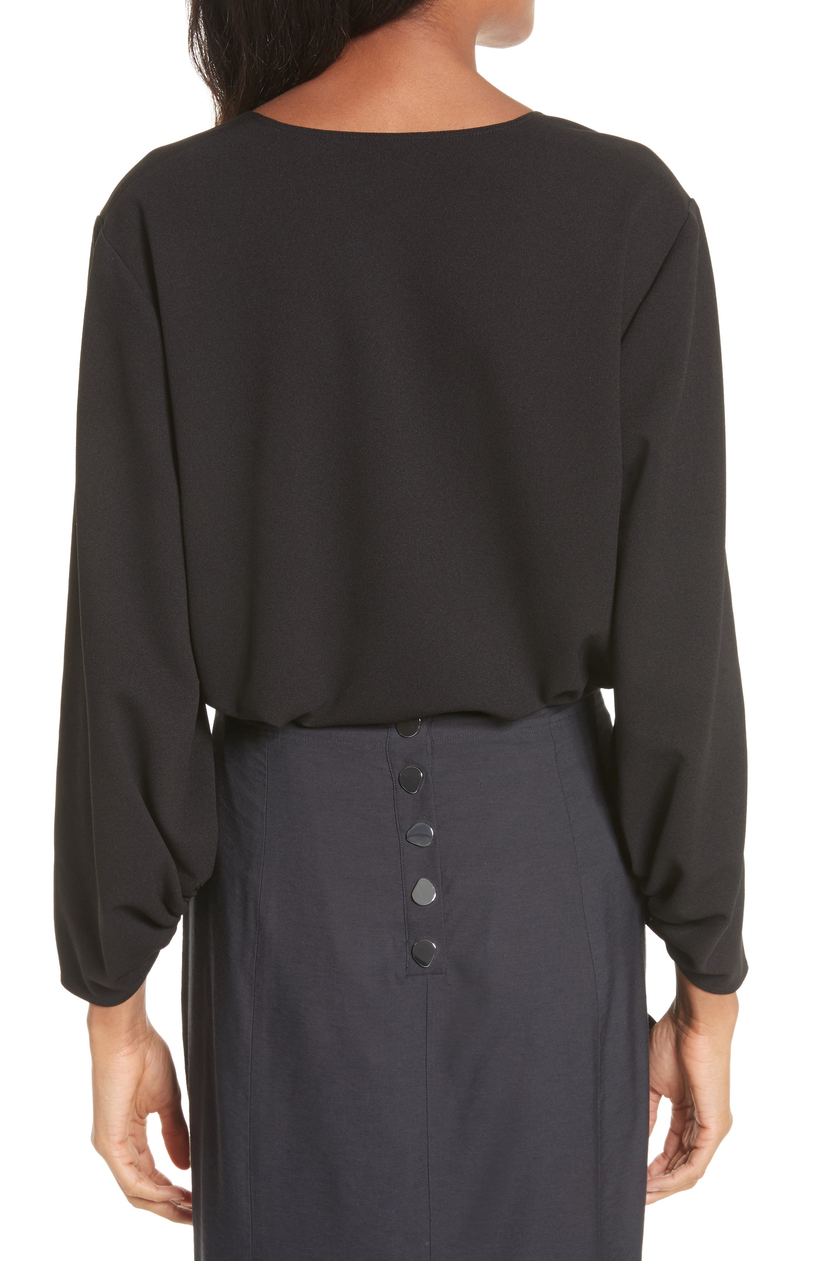 Cinched Sleeve Top,                             Alternate thumbnail 2, color,                             001