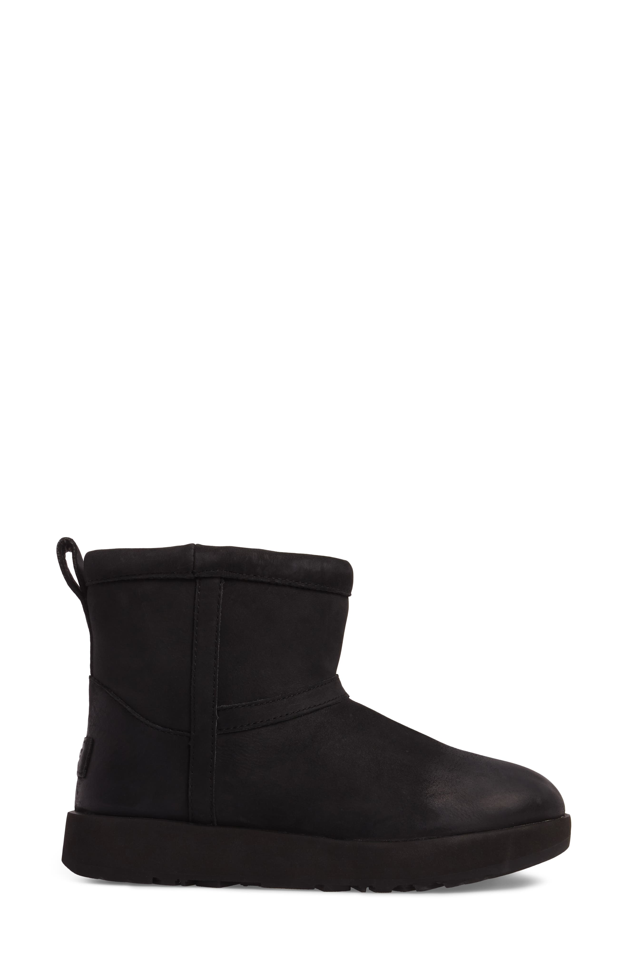 Classic Mini Genuine Shearling Lined Waterproof Boot,                             Alternate thumbnail 3, color,                             BLACK LEATHER
