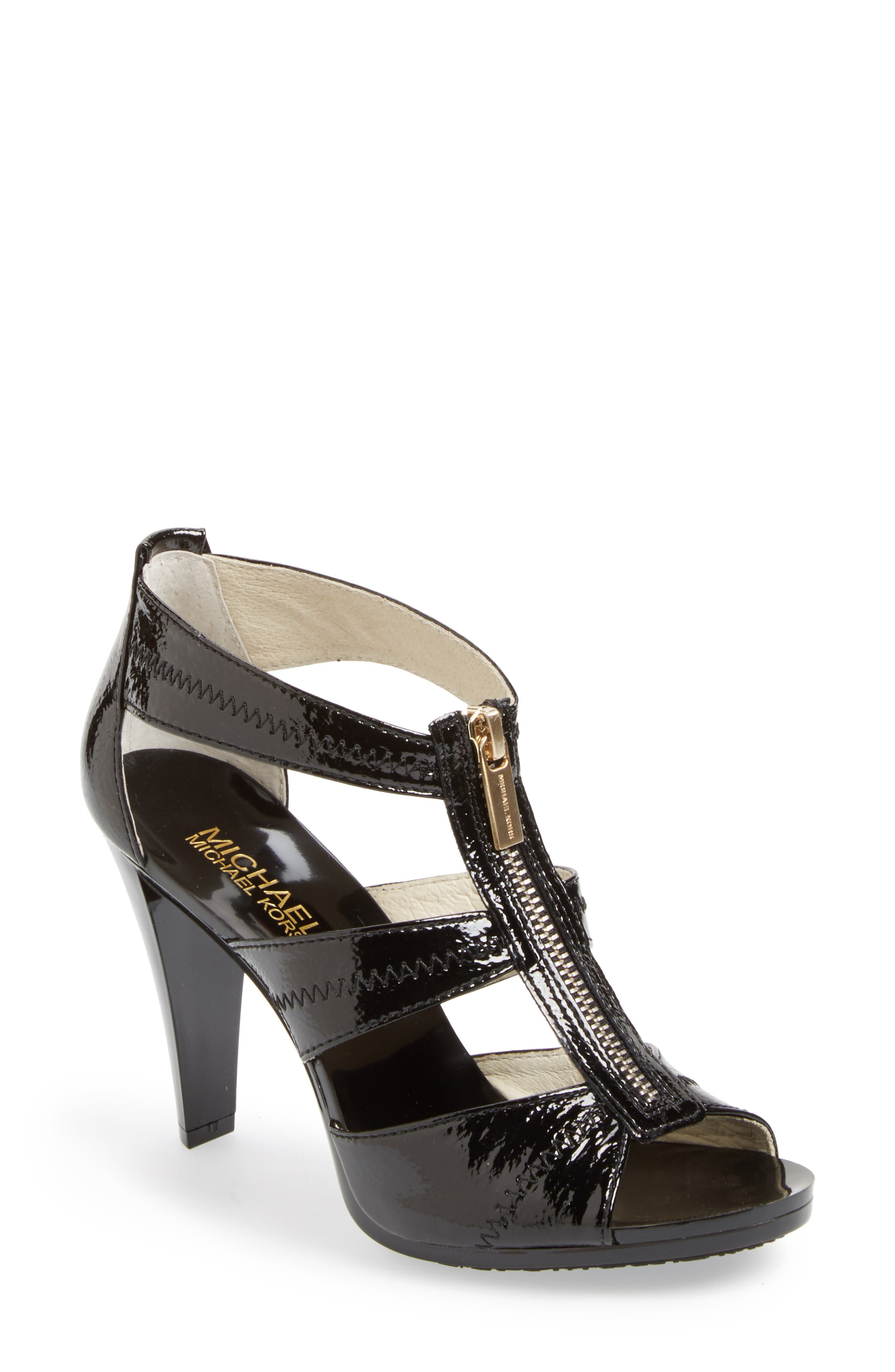 'Berkley' T-Strap Sandal,                             Main thumbnail 1, color,                             BLACK CRINKLED PATENT