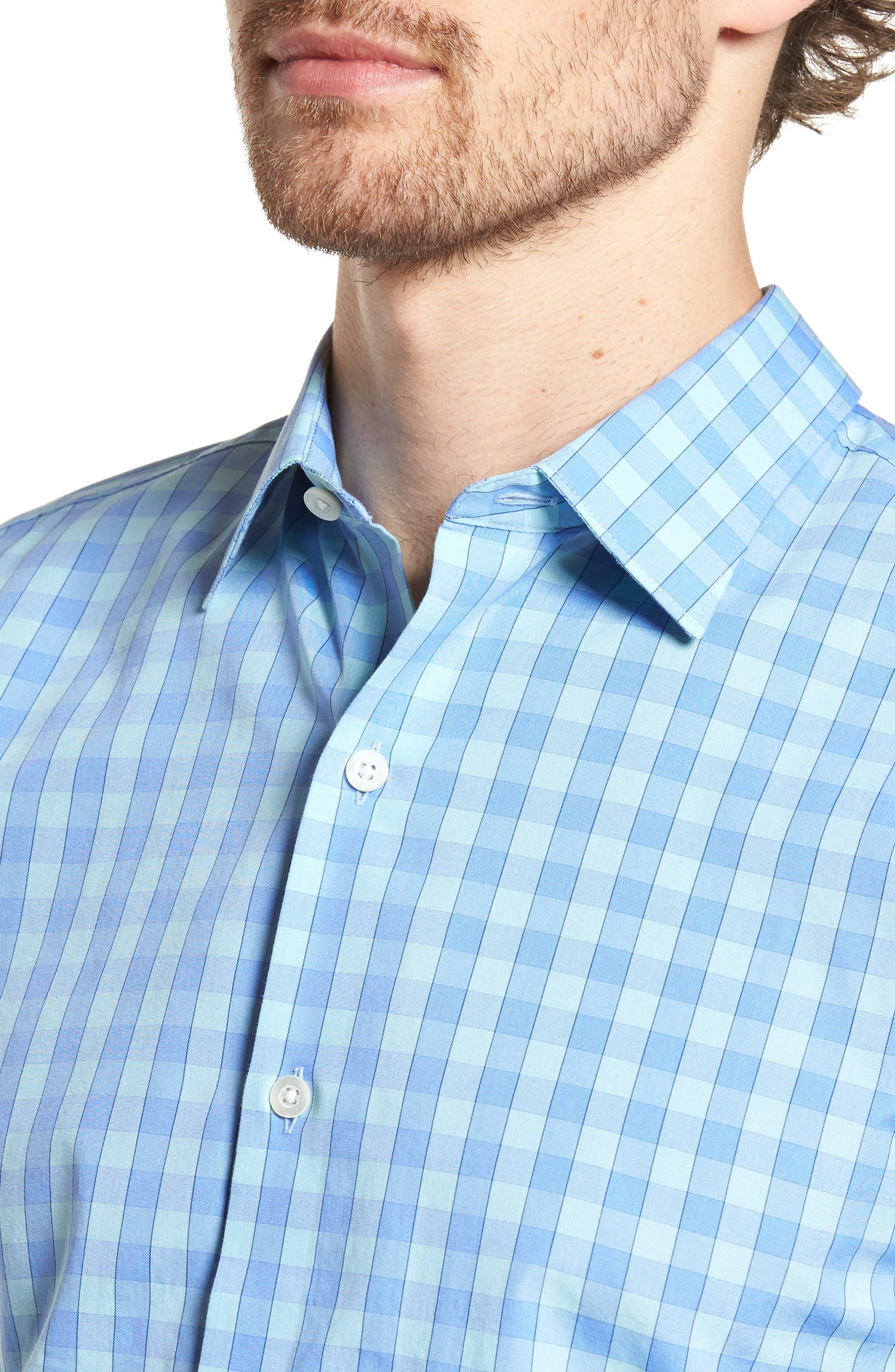 Unbutton Down 2.0 Slim Fit Gingham Sport Shirt,                             Alternate thumbnail 4, color,                             400