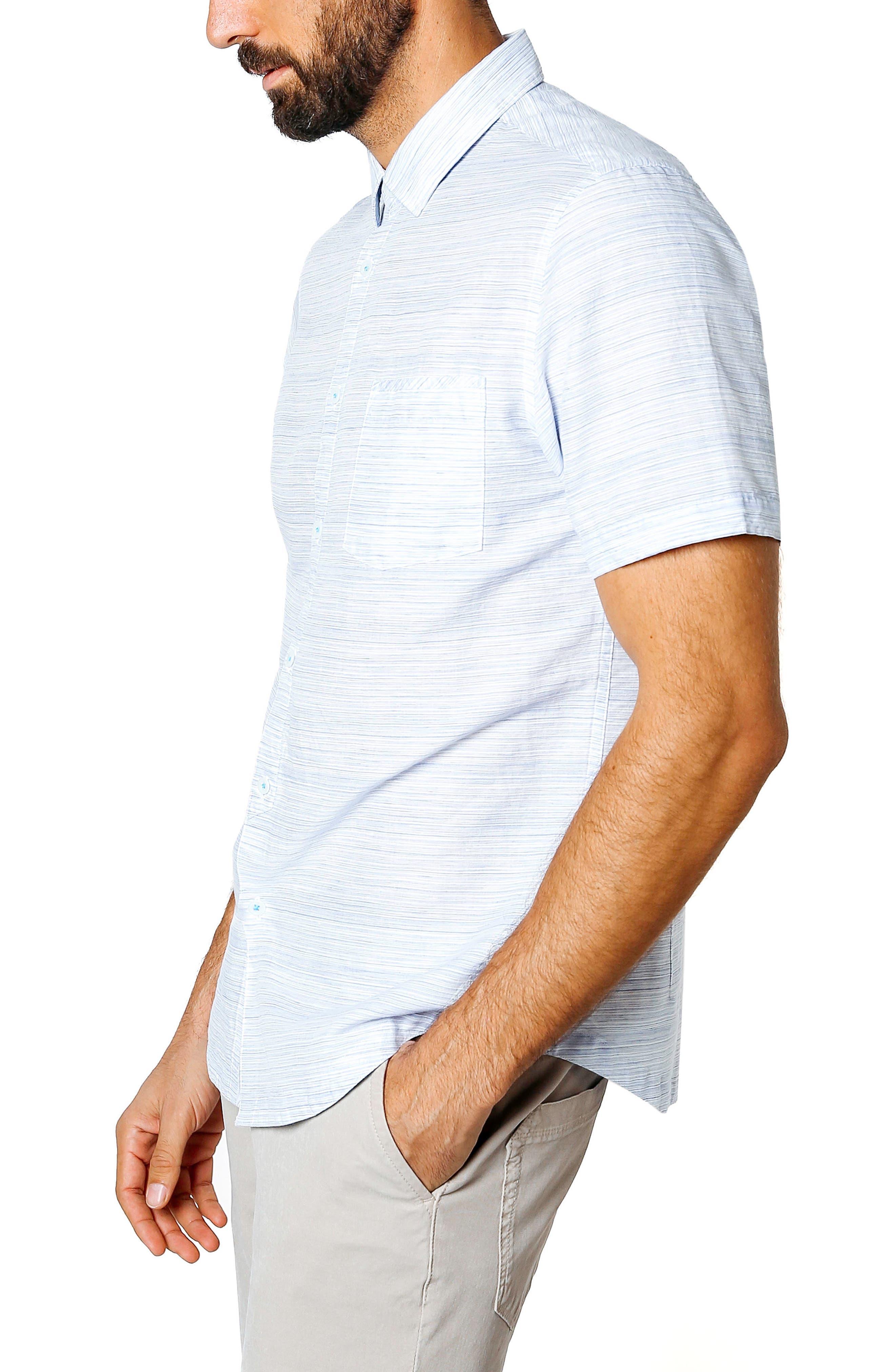Slim Fit Stripe Short Sleeve Sport Shirt,                             Alternate thumbnail 3, color,                             BLUE