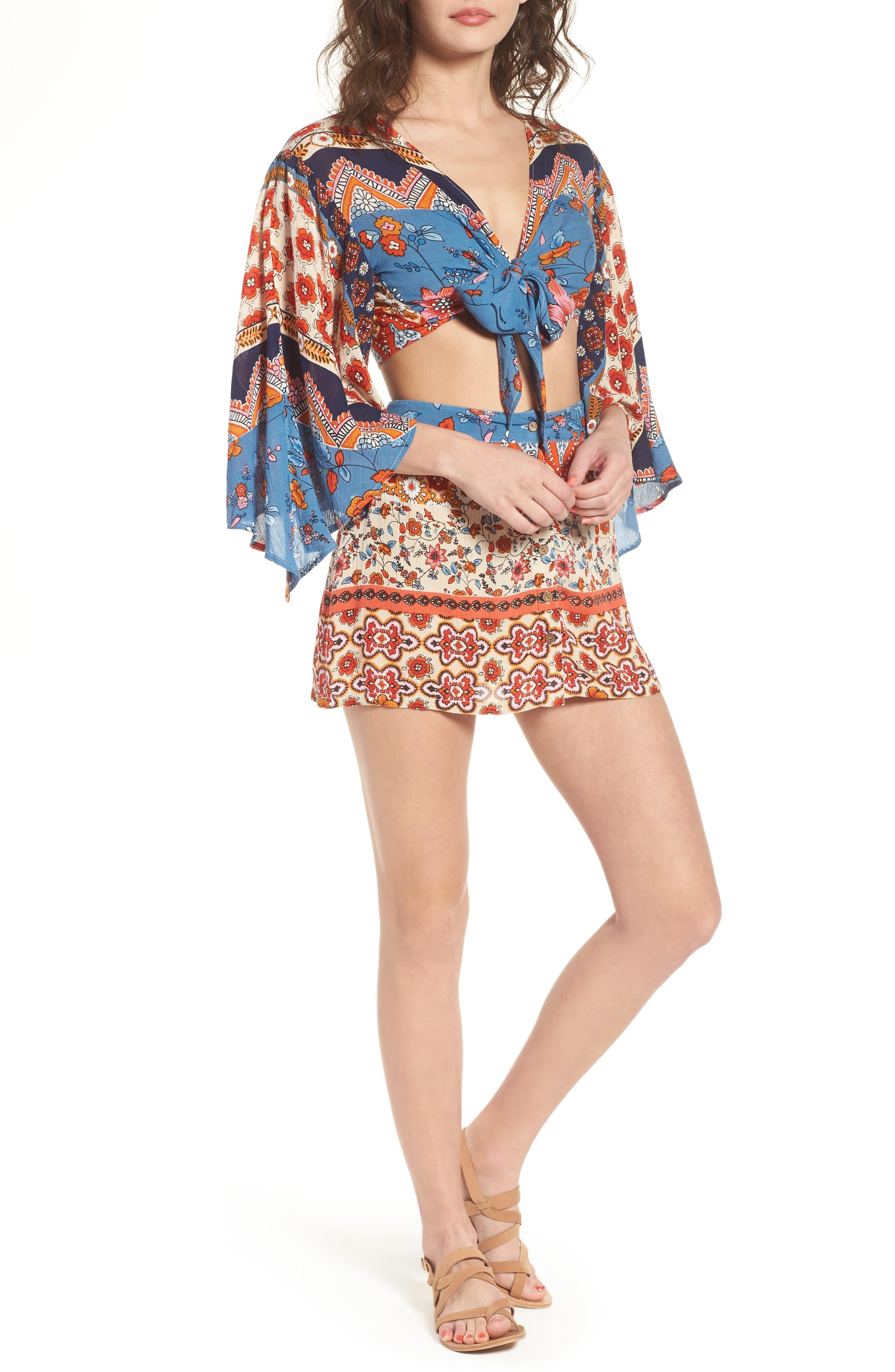 Sun Daze Mixed Print Skirt,                             Alternate thumbnail 7, color,