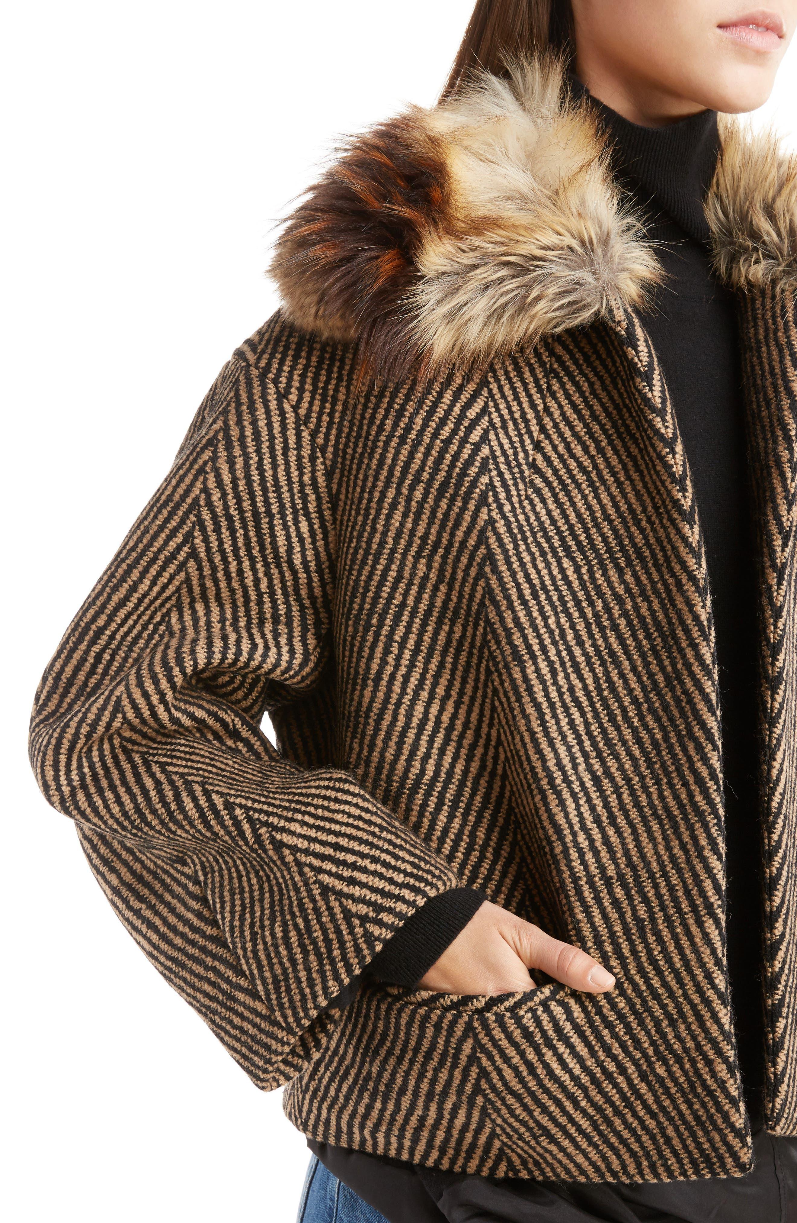 Faux Fur Collar Herringbone Coat,                             Alternate thumbnail 4, color,                             250