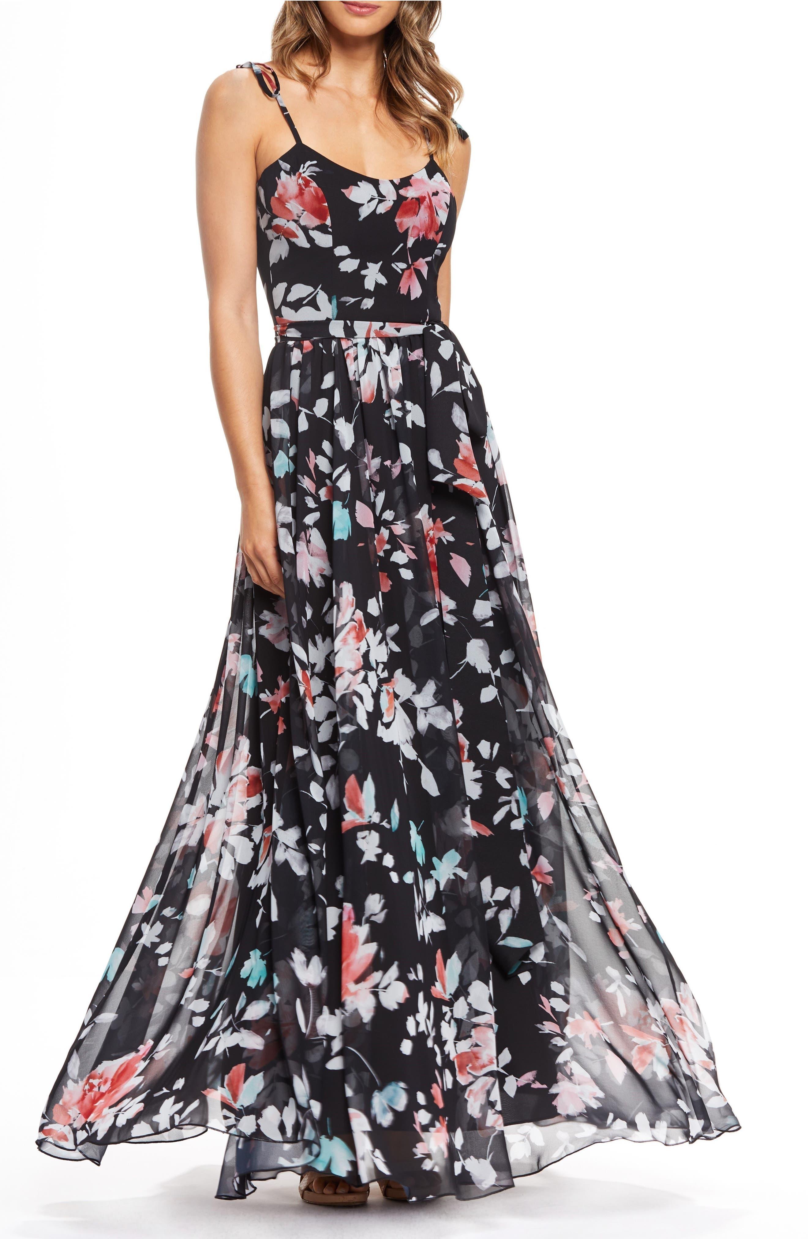Dress The Population Hollie Floral Maxi Dress, Black
