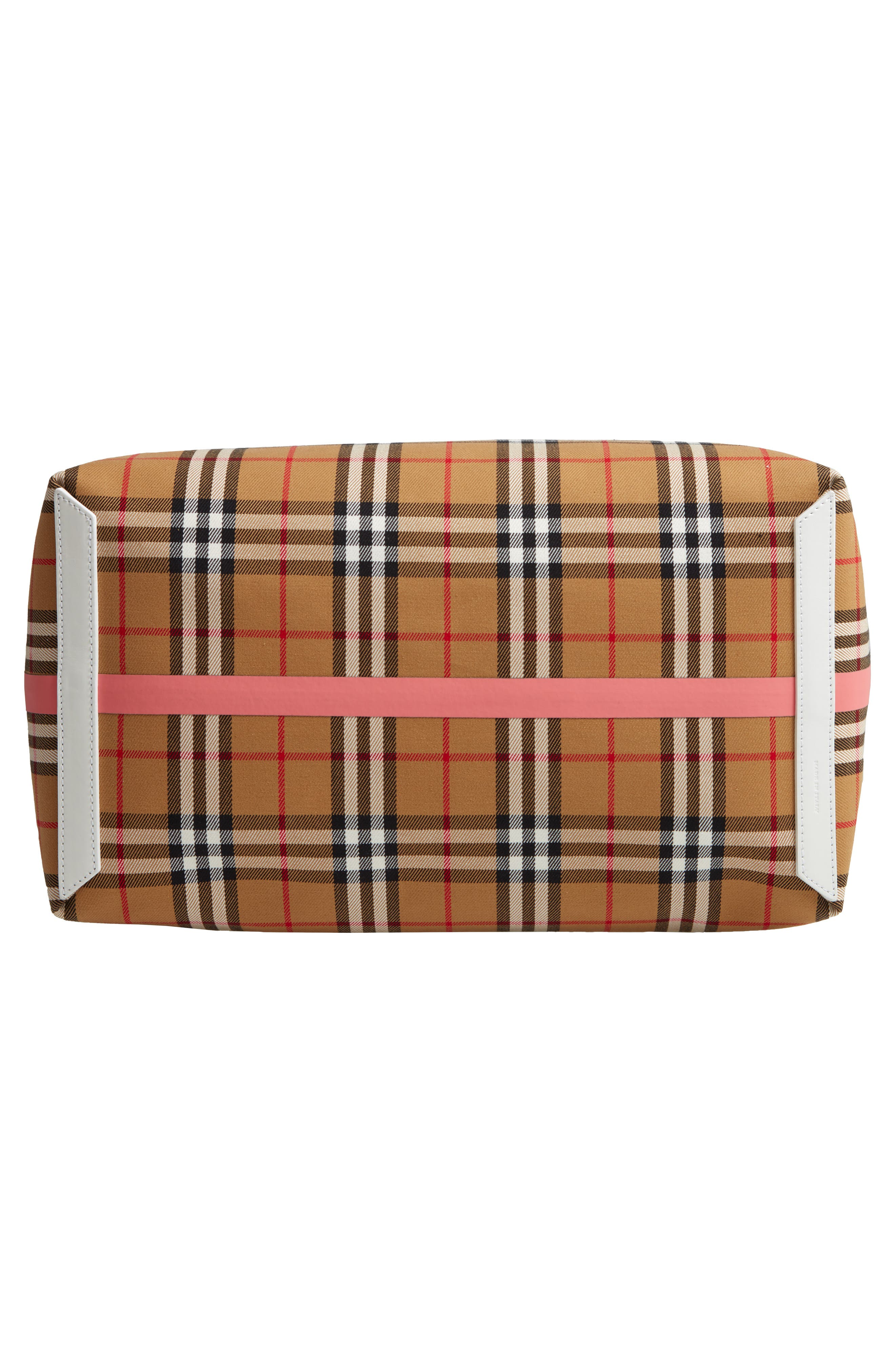 Giant Check Reversible Tote,                             Alternate thumbnail 7, color,                             BEIGE/ PINK/ CHALK WHITE