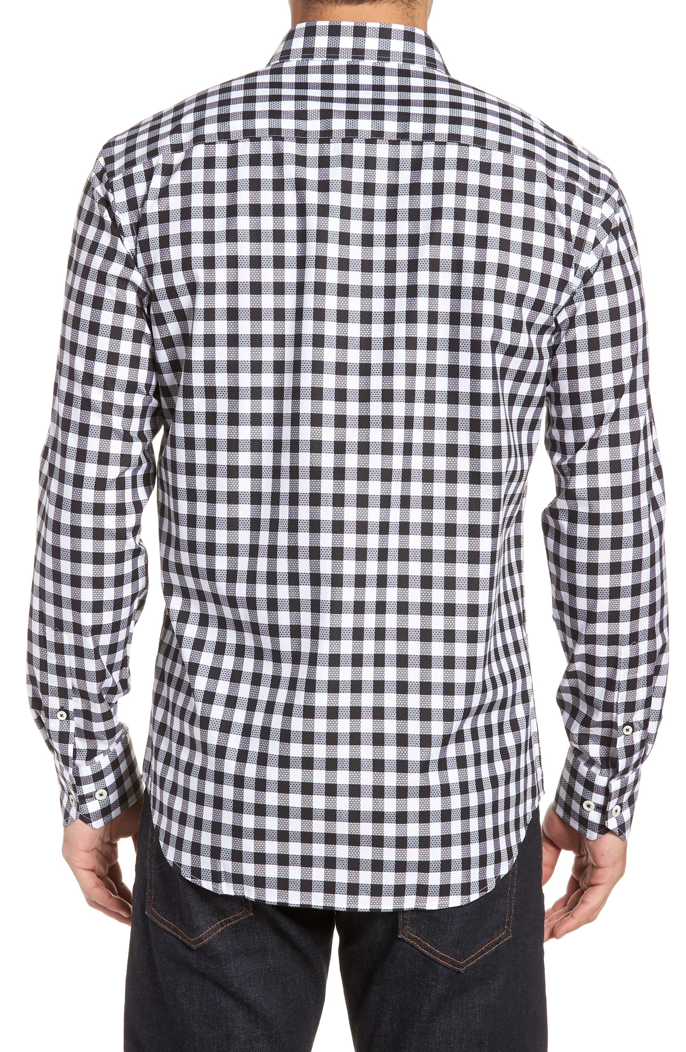 Shaped Fit Gingham Check Sport Shirt,                             Alternate thumbnail 2, color,                             BLACK