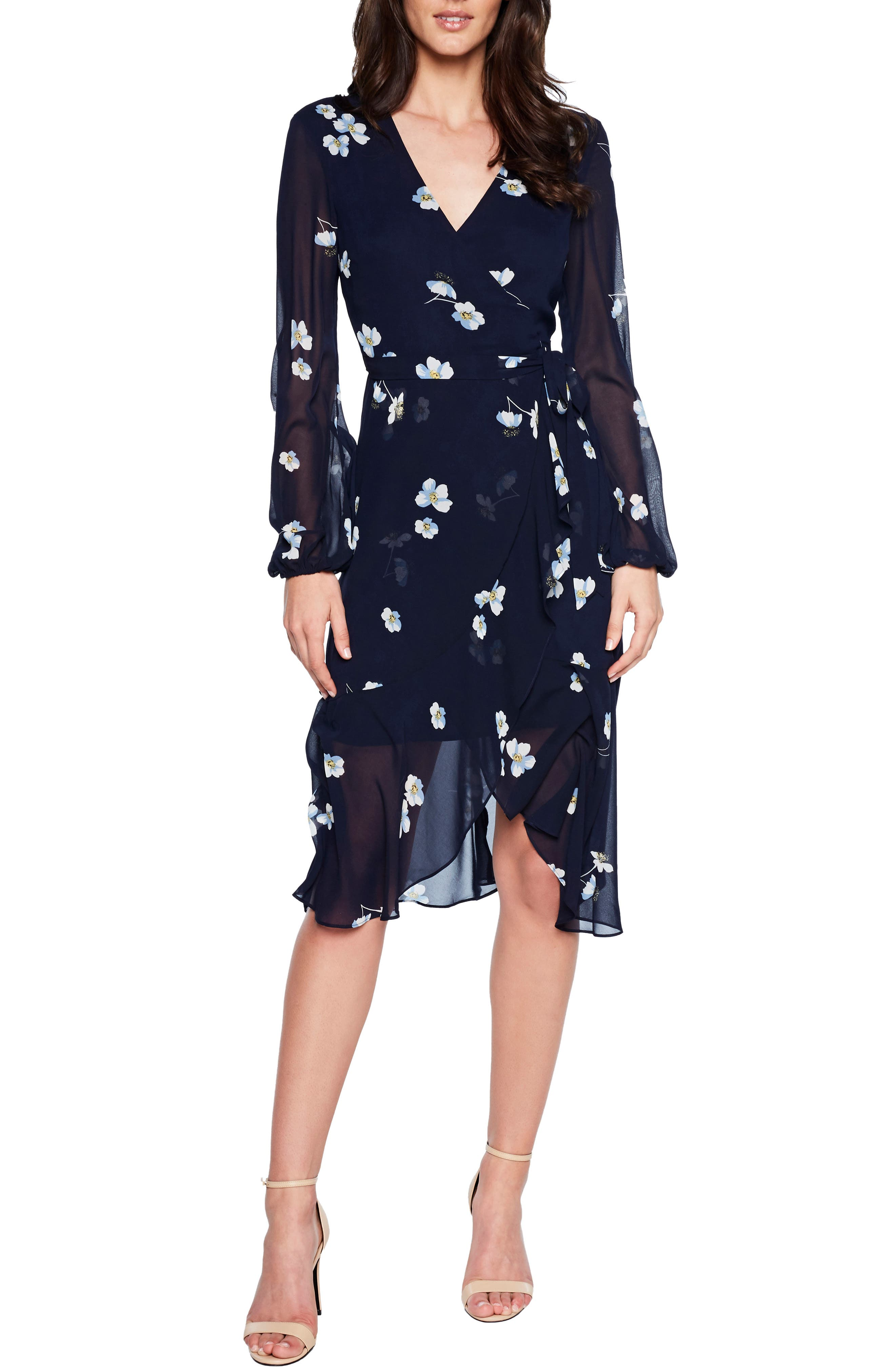 Bardot Poppy Faux Wrap Dress, Black