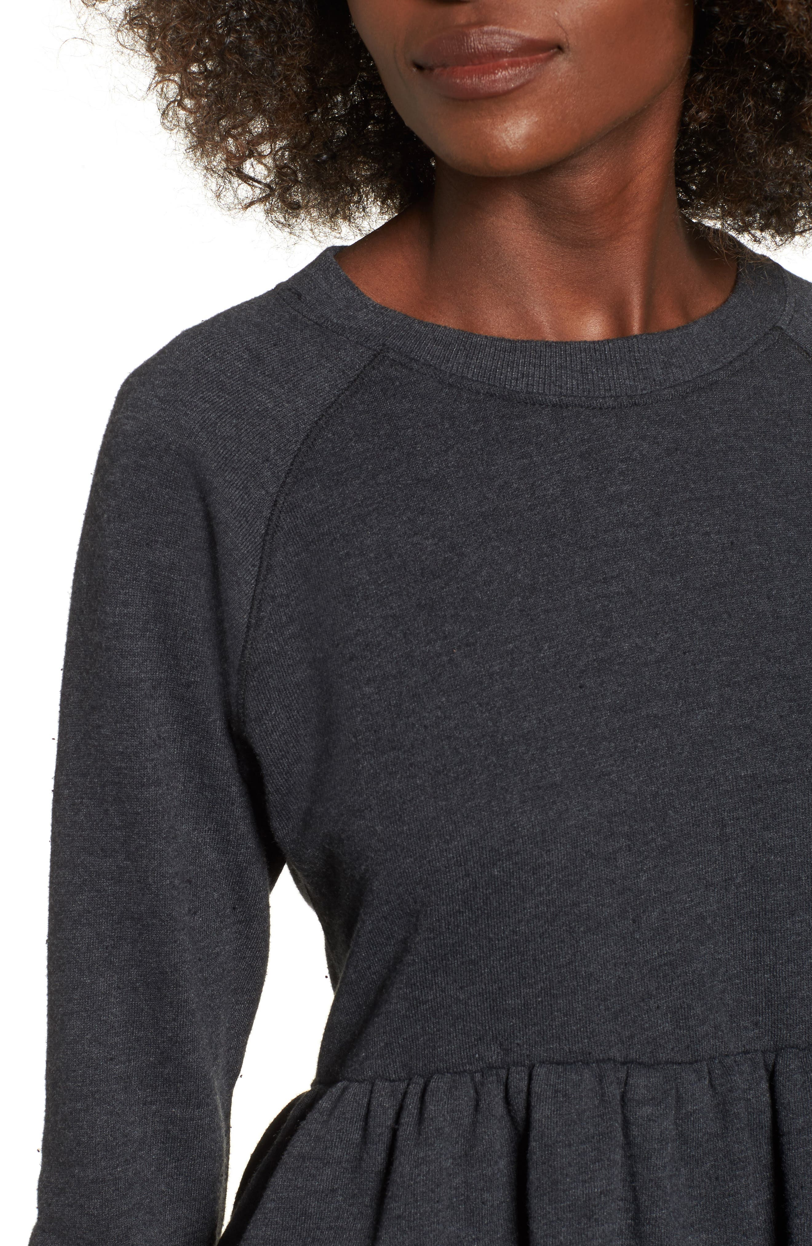 Viera Fleece Peplum Sweatshirt,                             Alternate thumbnail 4, color,                             020