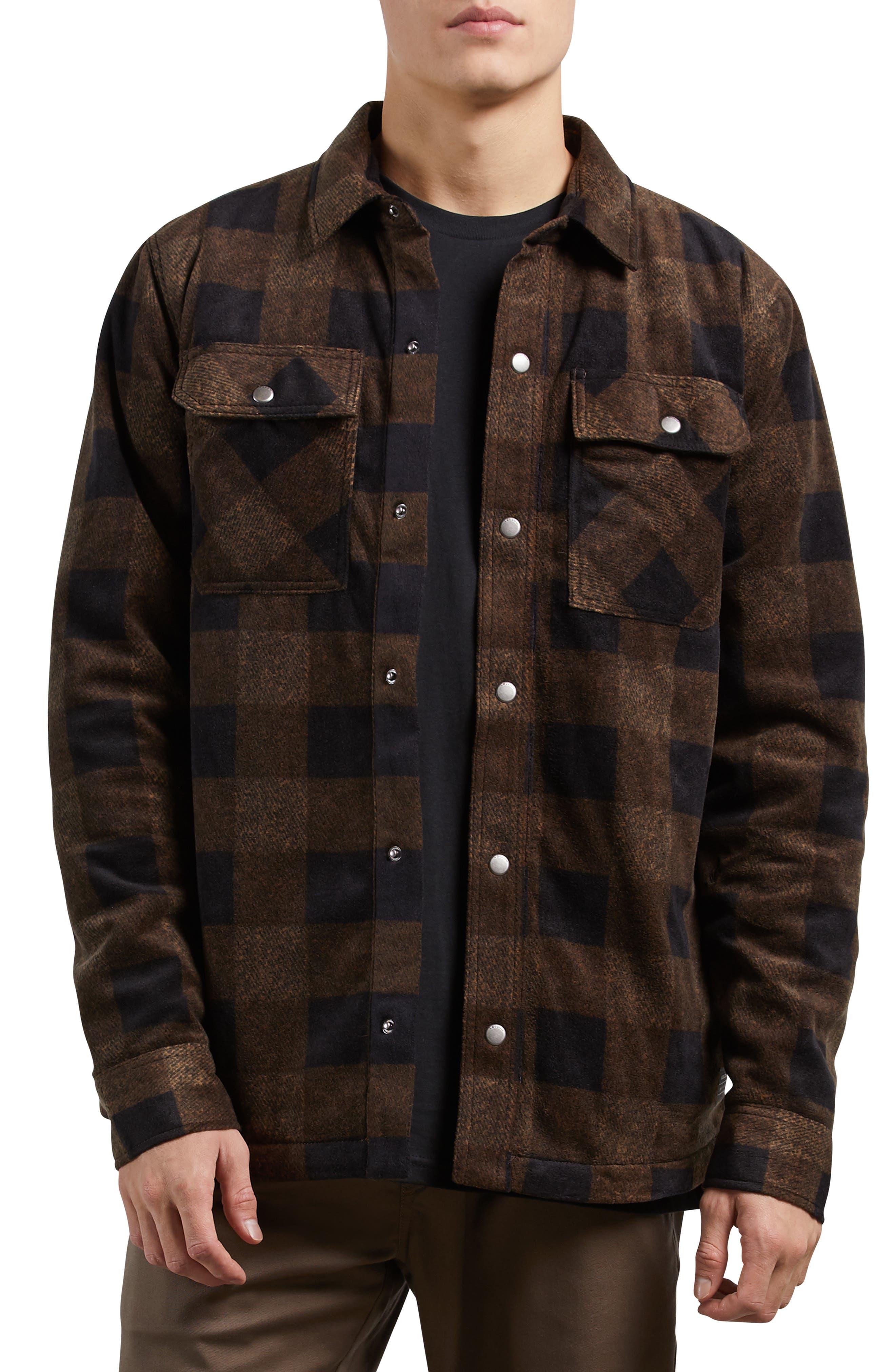 Bower Check Print Fleece Jacket,                         Main,                         color, 800