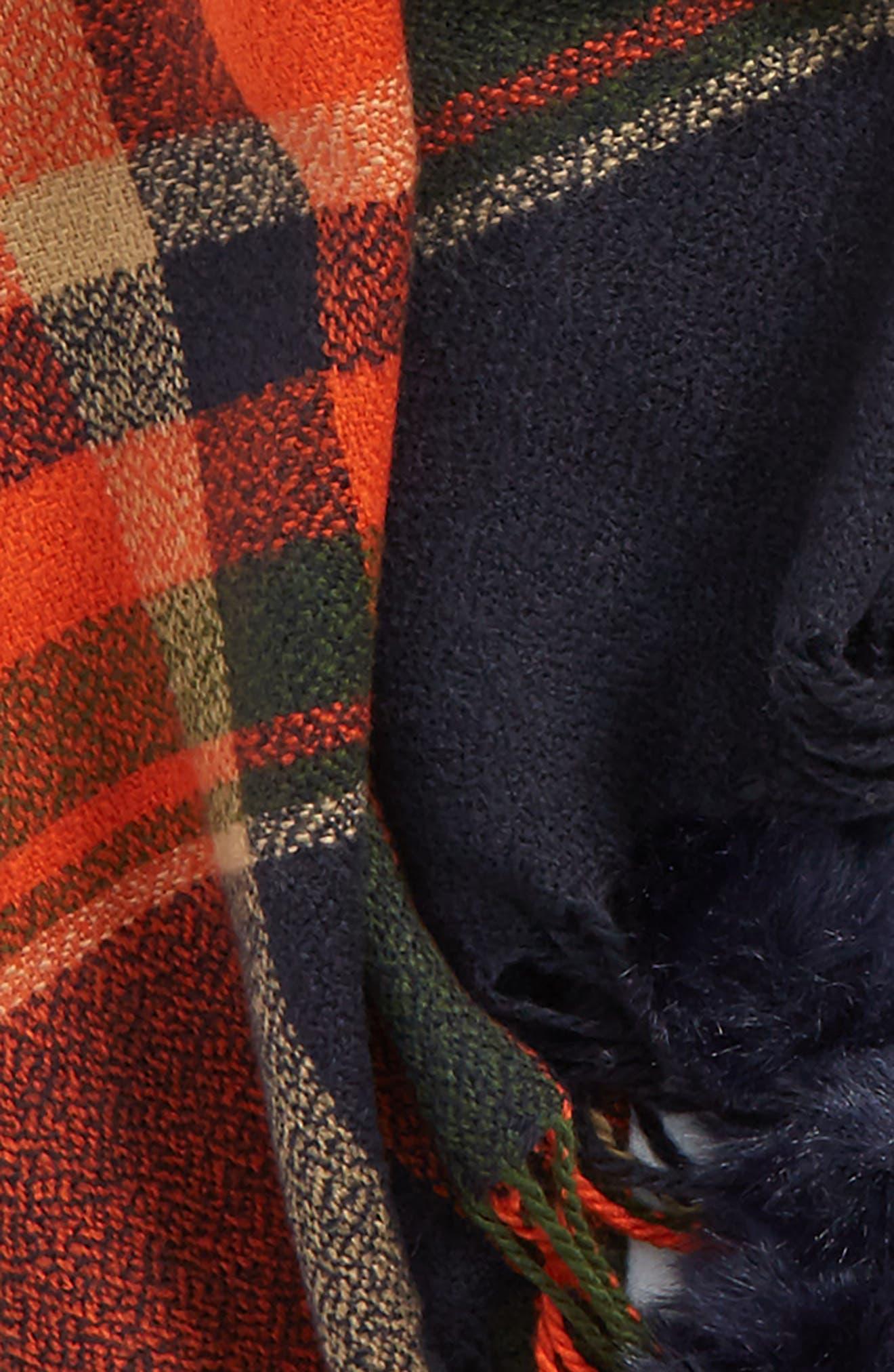 Faux Fur Pompom Trim Plaid Scarf,                             Alternate thumbnail 3, color,