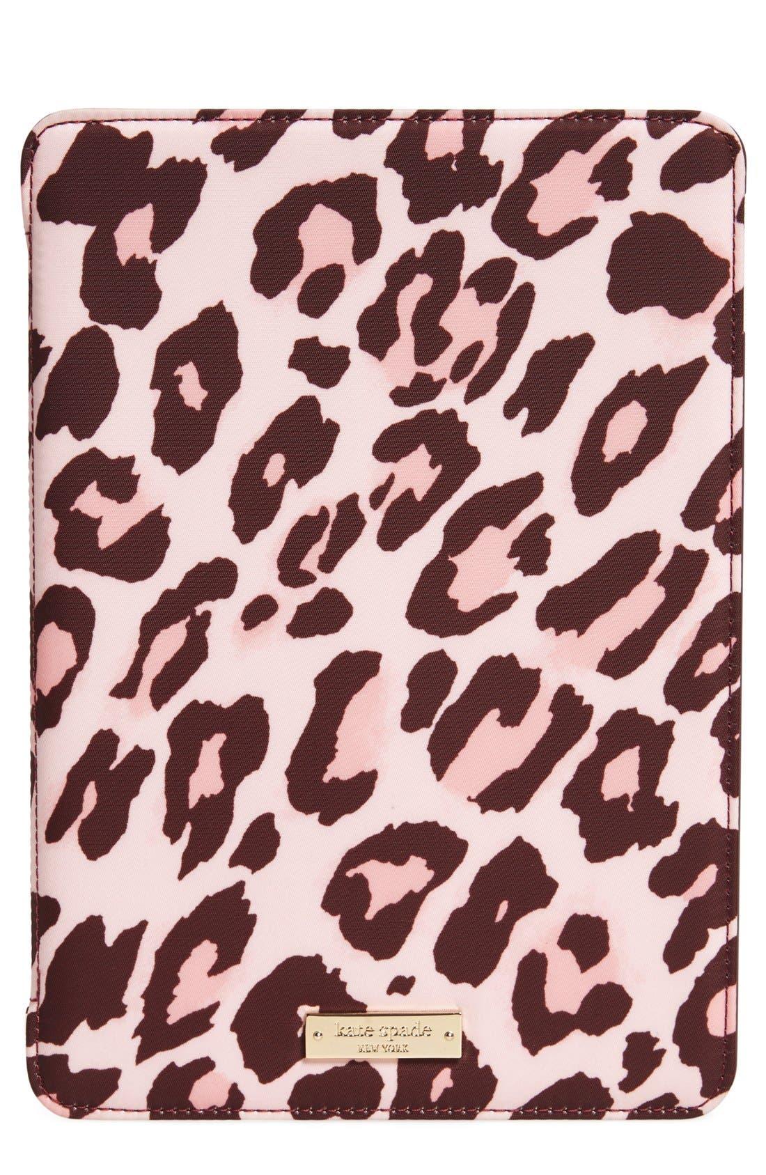 KATE SPADE NEW YORK leopard print iPad Air 2 hardcase folio, Main, color, 650