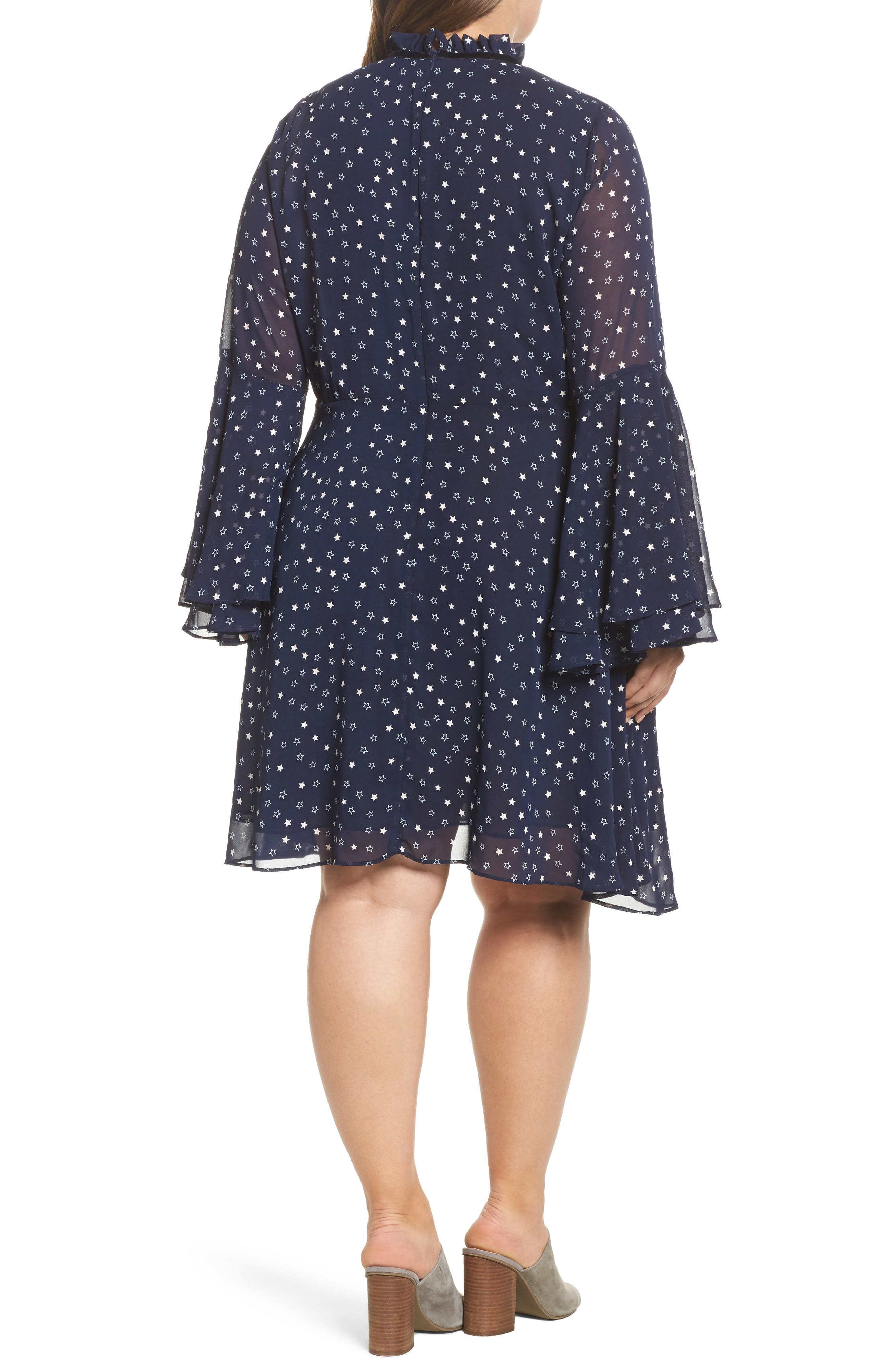 Bell Sleeve Floral Minidress,                             Alternate thumbnail 2, color,                             460