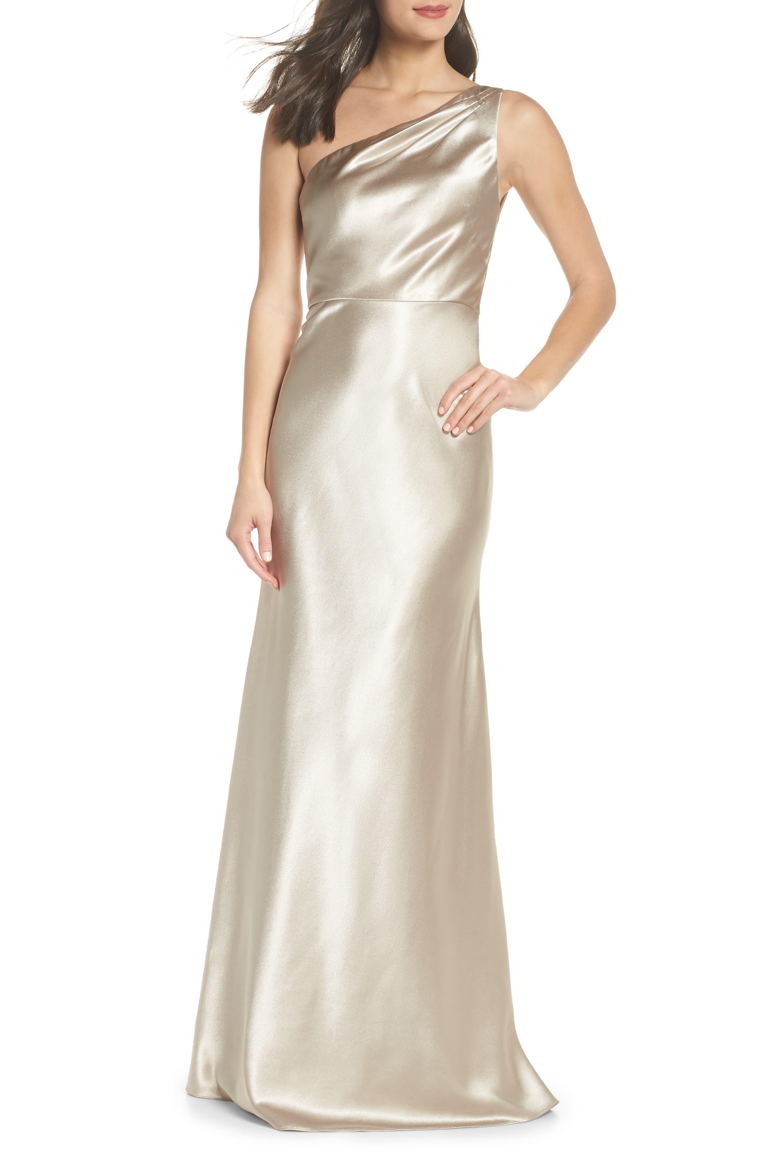 Lena One-Shoulder Crepe Back Satin Gown,                         Main,                         color, 253