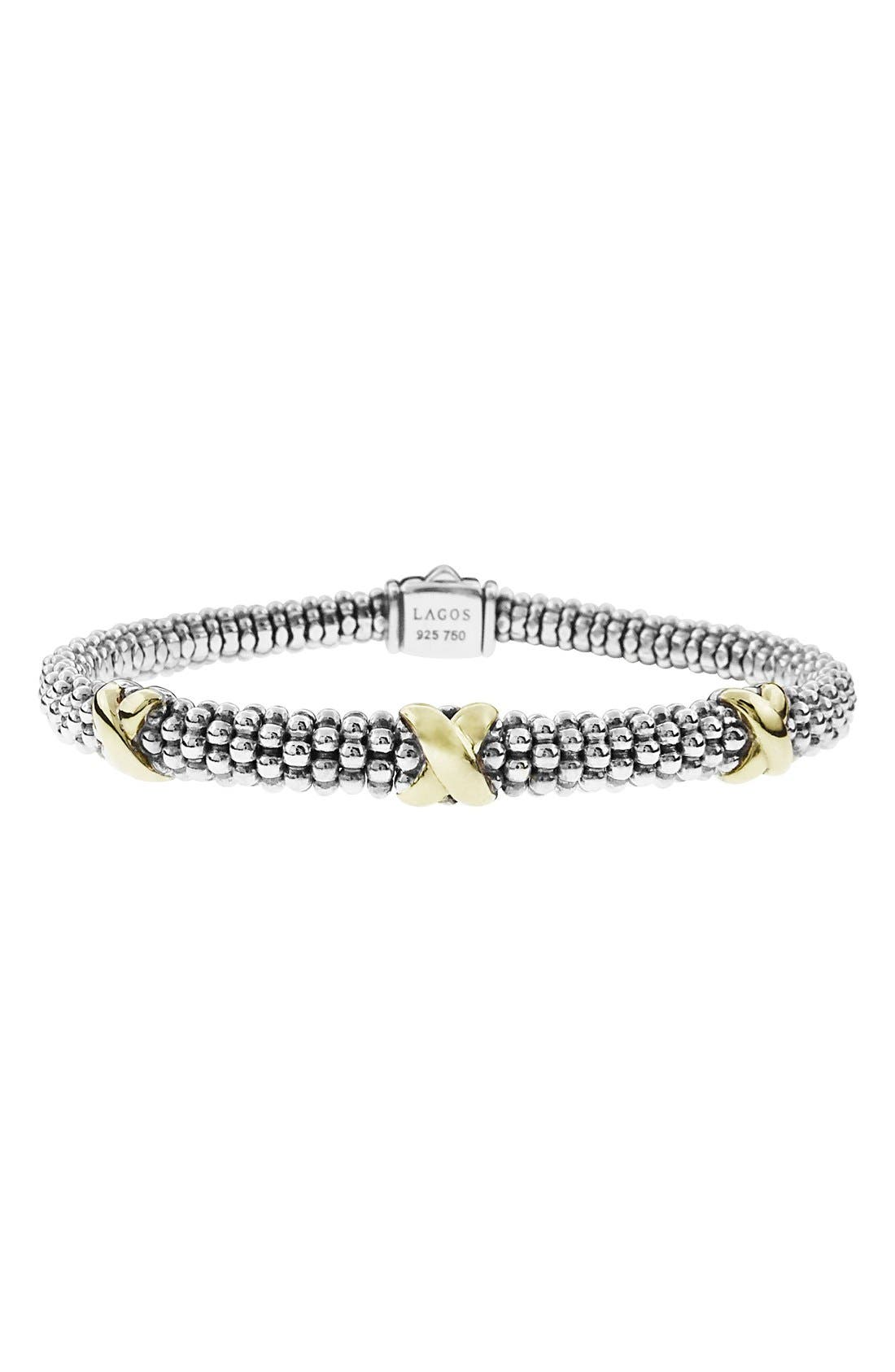 'Signature Caviar' Two-Tone Mini Oval Rope Bracelet,                             Main thumbnail 1, color,                             SILVER/ GOLD