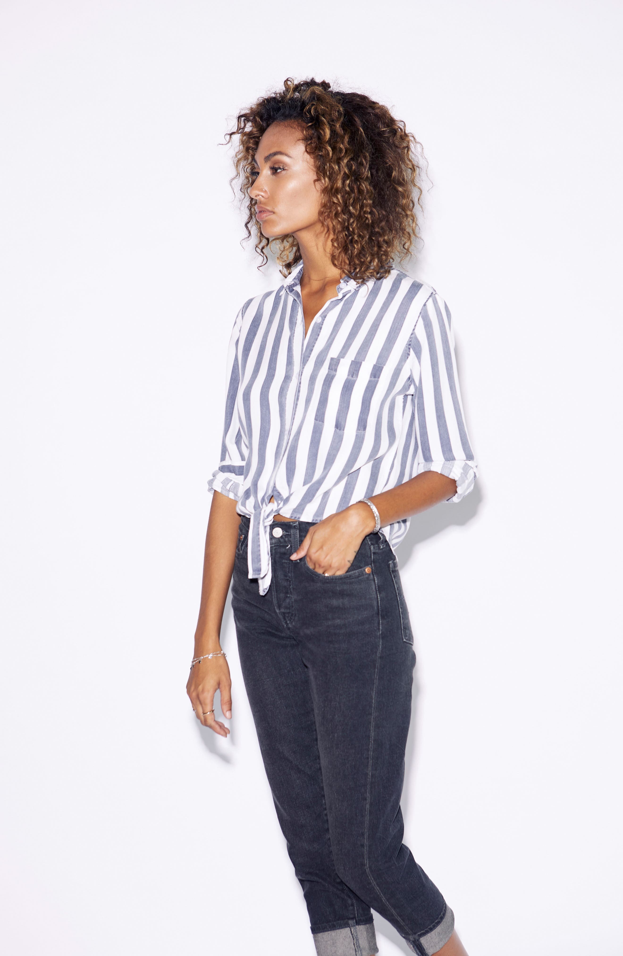 Val Stripe Tie Front Top,                             Alternate thumbnail 8, color,                             400