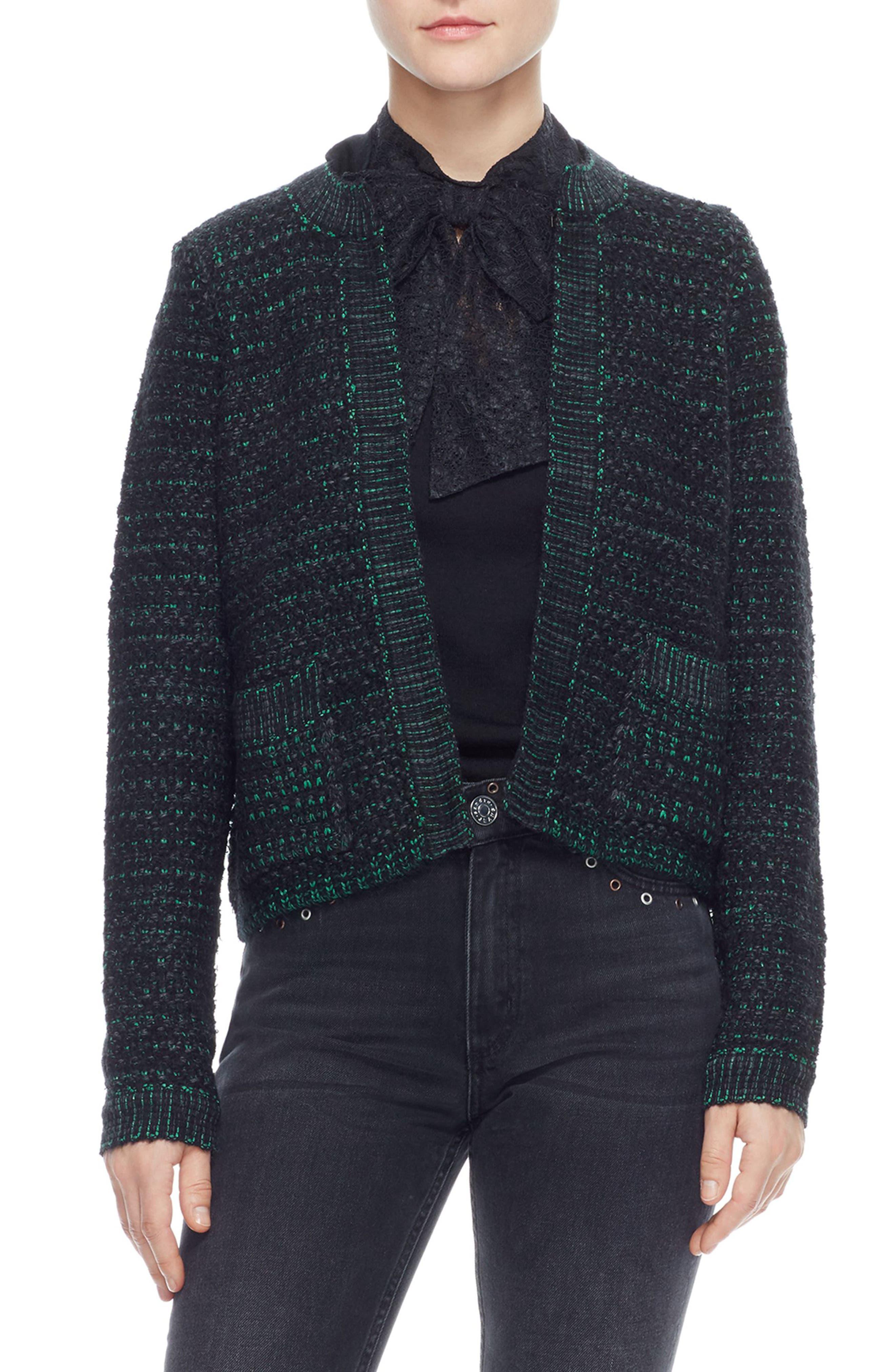 Open Front Crop Cardigan,                         Main,                         color, BLACK