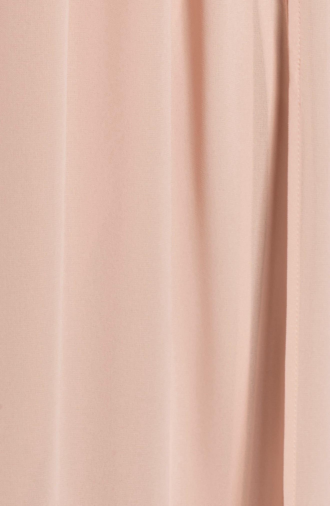 Plunging V-Neck Chiffon Gown,                             Alternate thumbnail 7, color,                             BLUSH