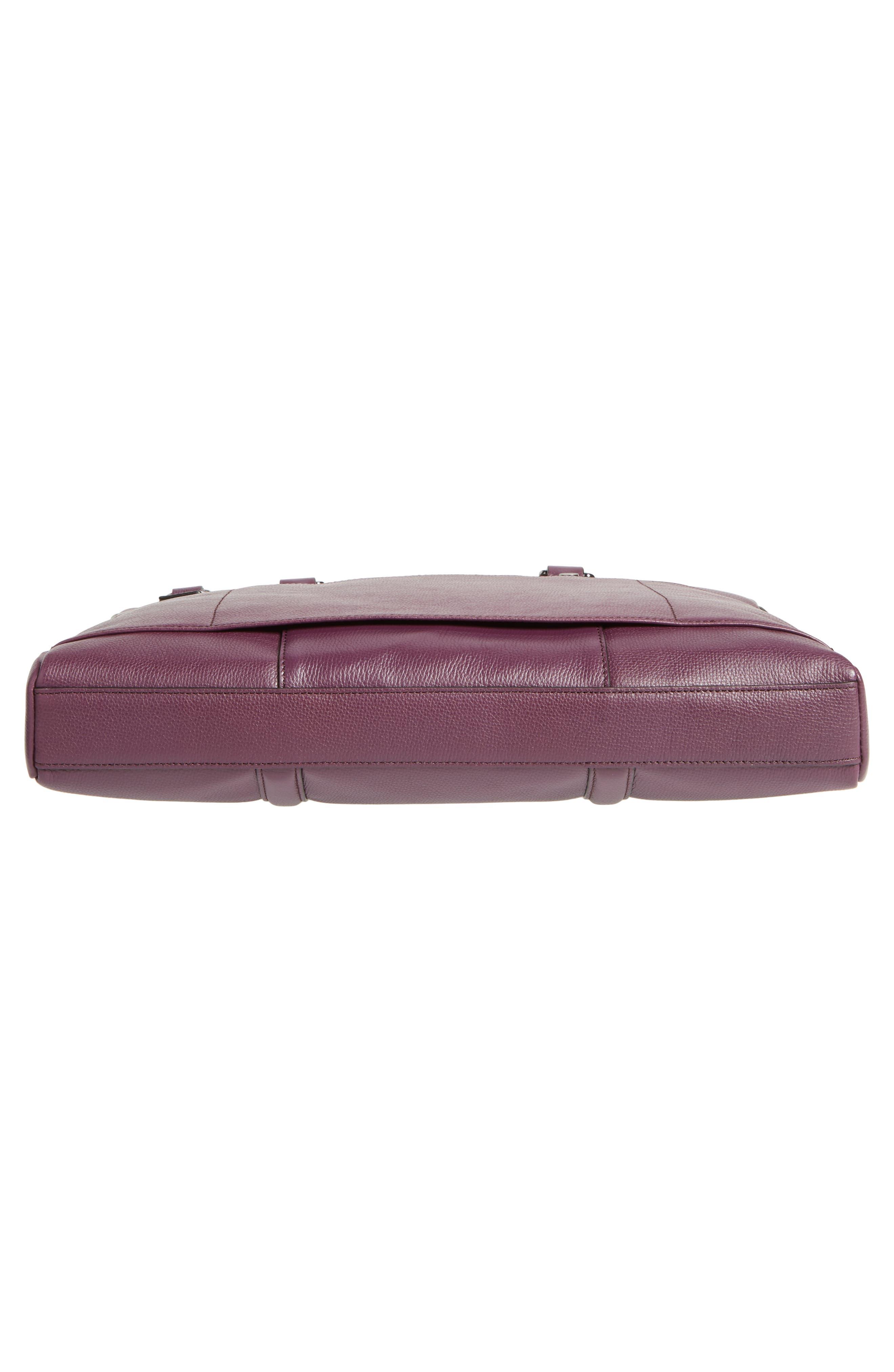 Hoooch Leather Briefcase,                             Alternate thumbnail 6, color,                             DEEP PURPLE