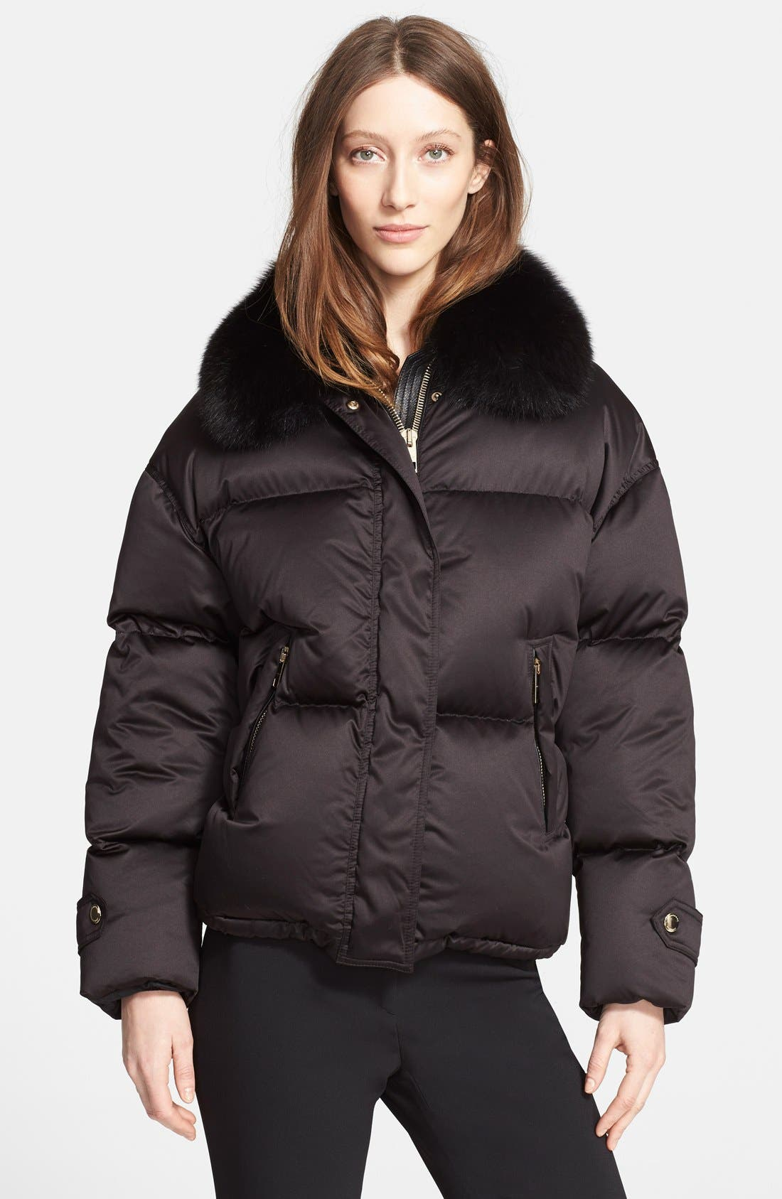 Goose Down Puffer Jacket with Removable Genuine Fox Fur Collar,                         Main,                         color, 001